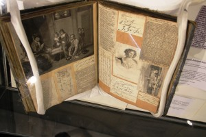 Pettingell scrapbook, currently on display