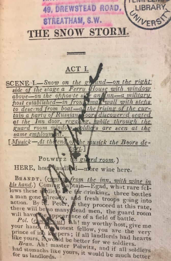 PETT B.53 SPEC COLL (059016100), 'The snow storm; or, Lowina of Tobolskow : a melodramatick romance', W. Barrymore, 1818
