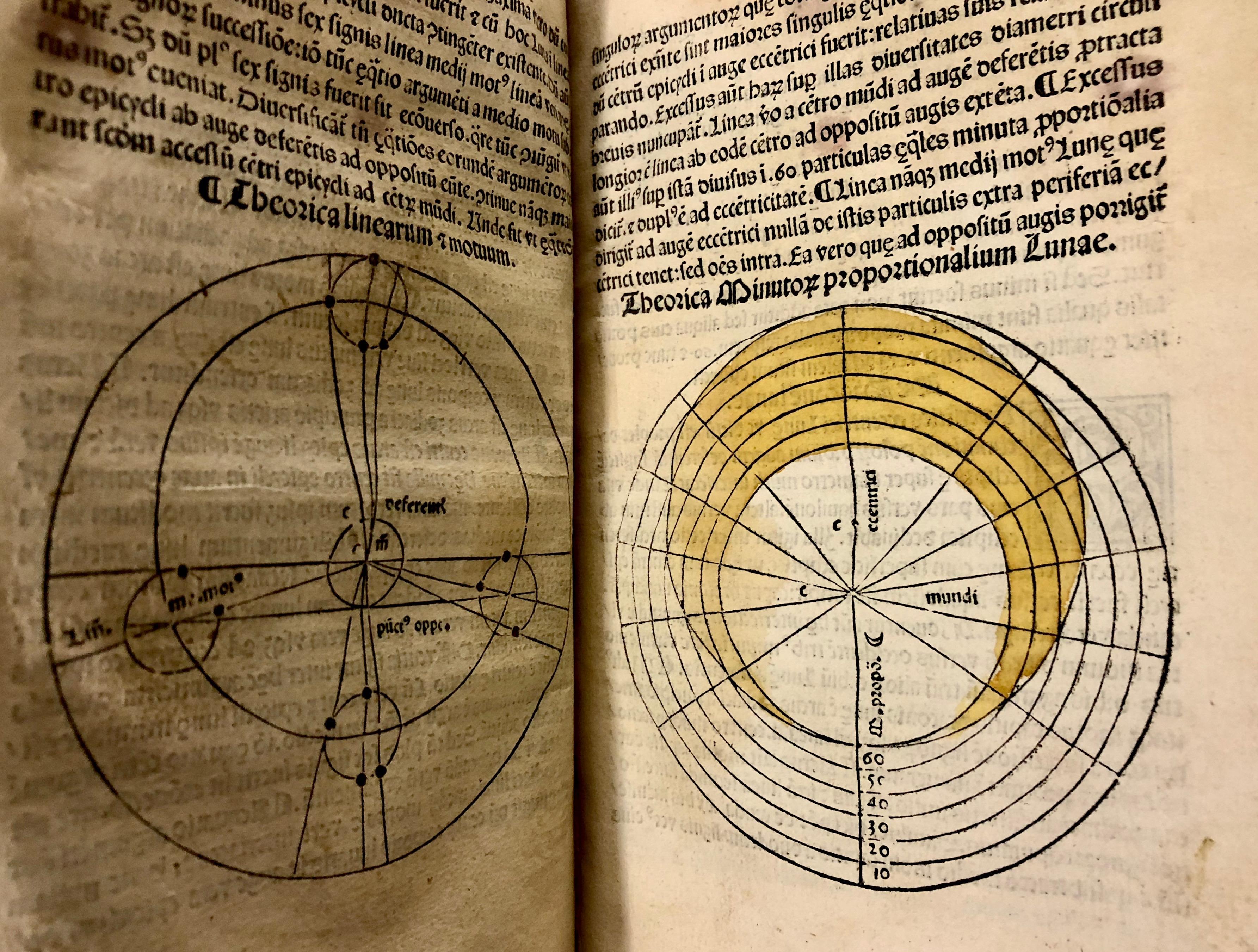 Lunar charts in 'Nouicijs adolescetib': ad astronomica remp: capessenda aditu impenetratib' by Johannes de Sacro Bosco, 1482, Venice (Maddison Collection, 1D1)
