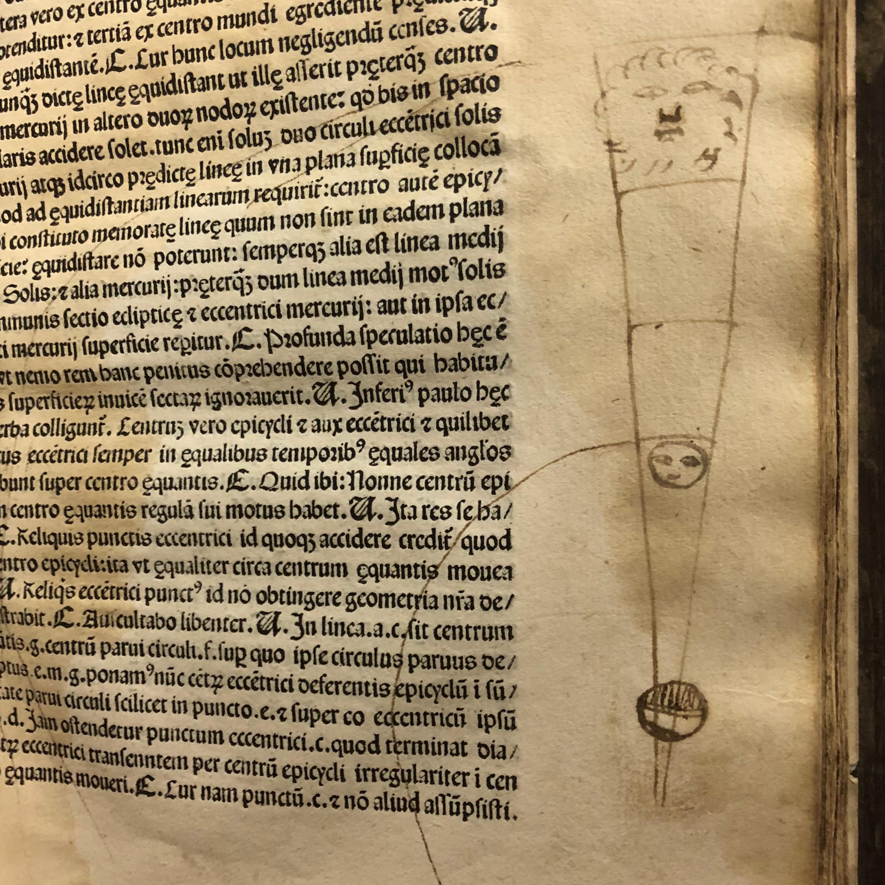 Drawing of a heliocentric universe in 'Nouicijs adolescetib': ad astronomica remp: capessenda aditu impenetratib' by Johannes de Sacro Bosco, 1482, Venice (Maddison Collection, 1D1)