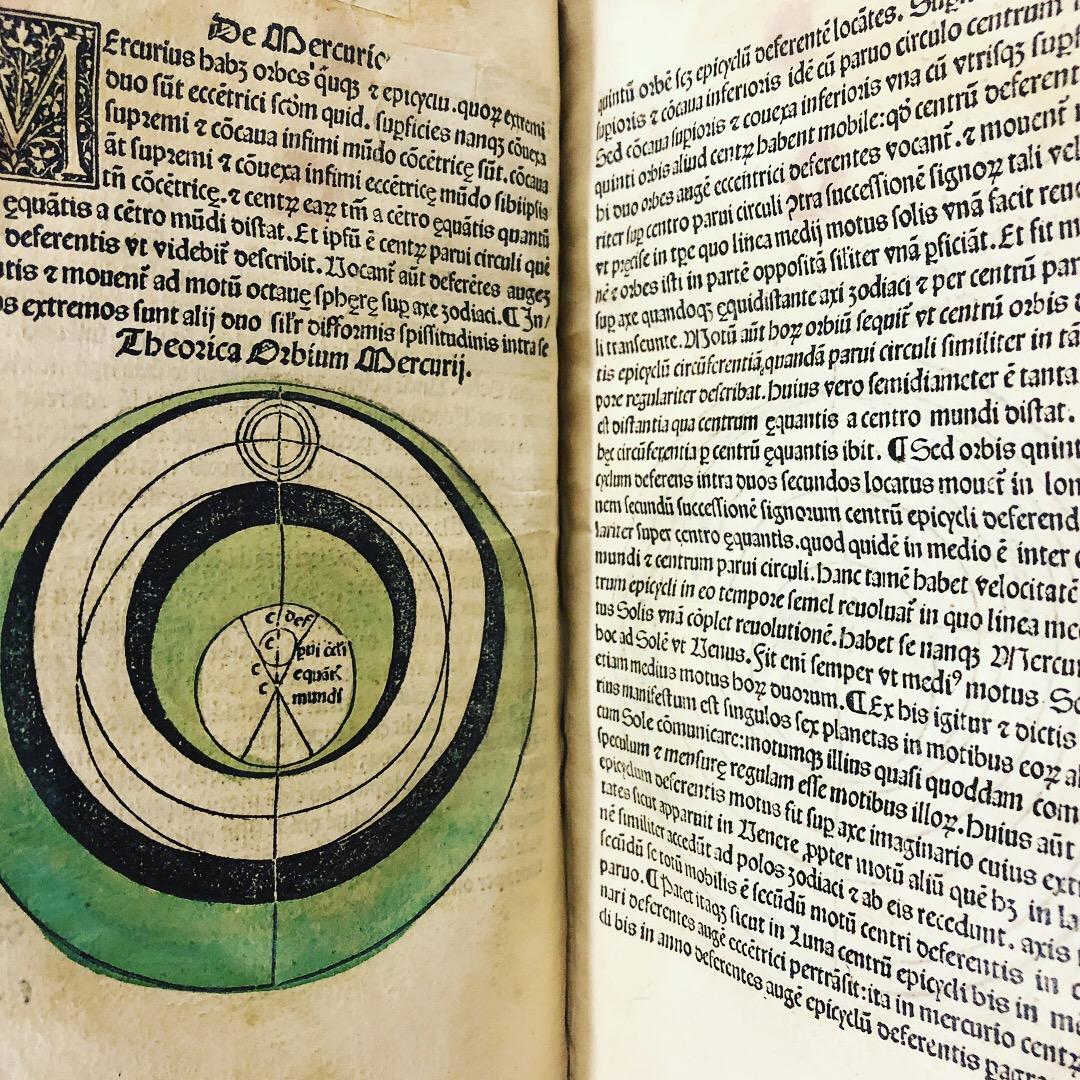 Even more hand-painted lunar charts in 'Nouicijs adolescetib': ad astronomica remp: capessenda aditu impenetratib' by Johannes de Sacro Bosco, 1482, Venice (Maddison Collection, 1D1)