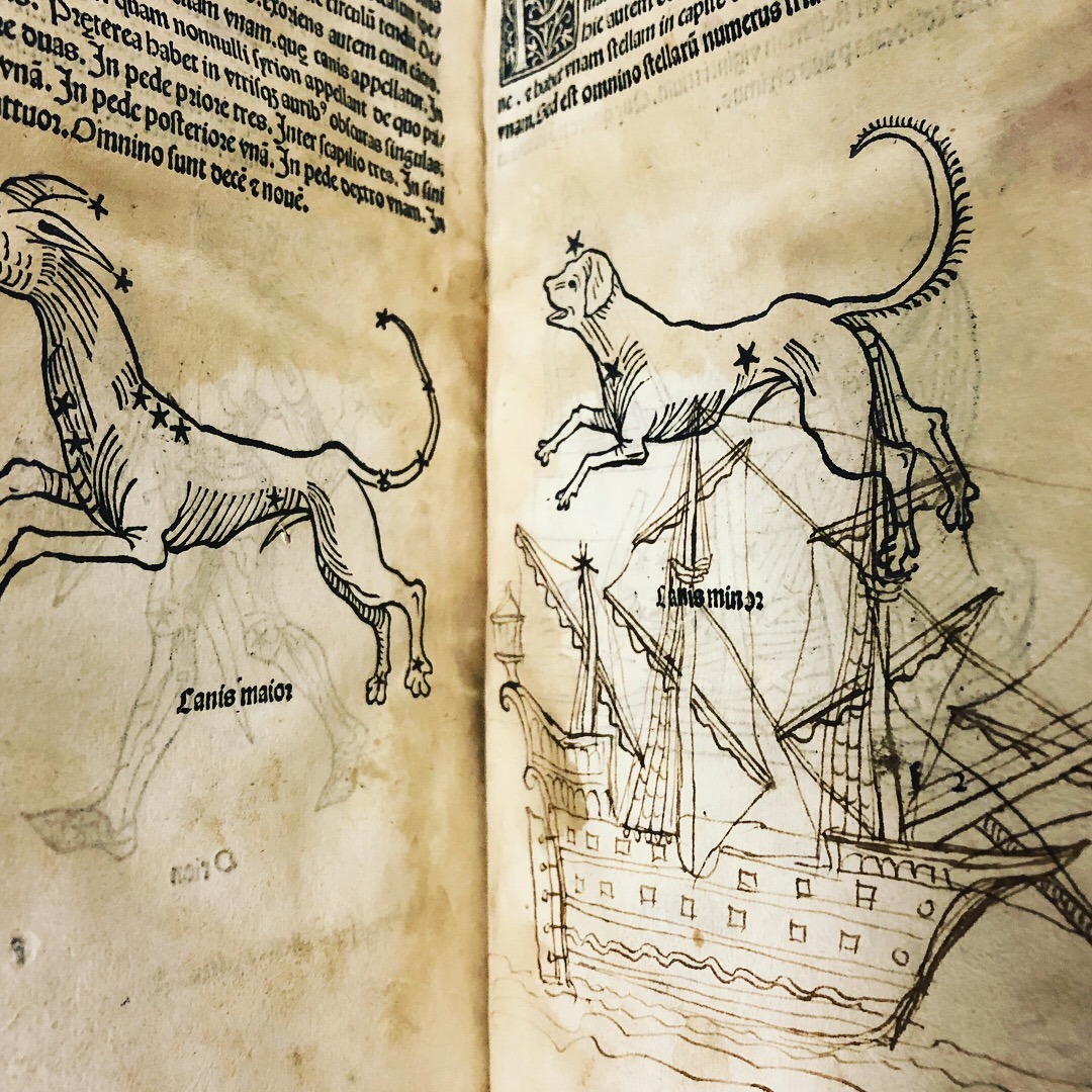 A dog on a ship in 'Nouicijs adolescetib': ad astronomica remp: capessenda aditu impenetratib' by Johannes de Sacro Bosco, 1482, Venice (Maddison Collection, 1D1)