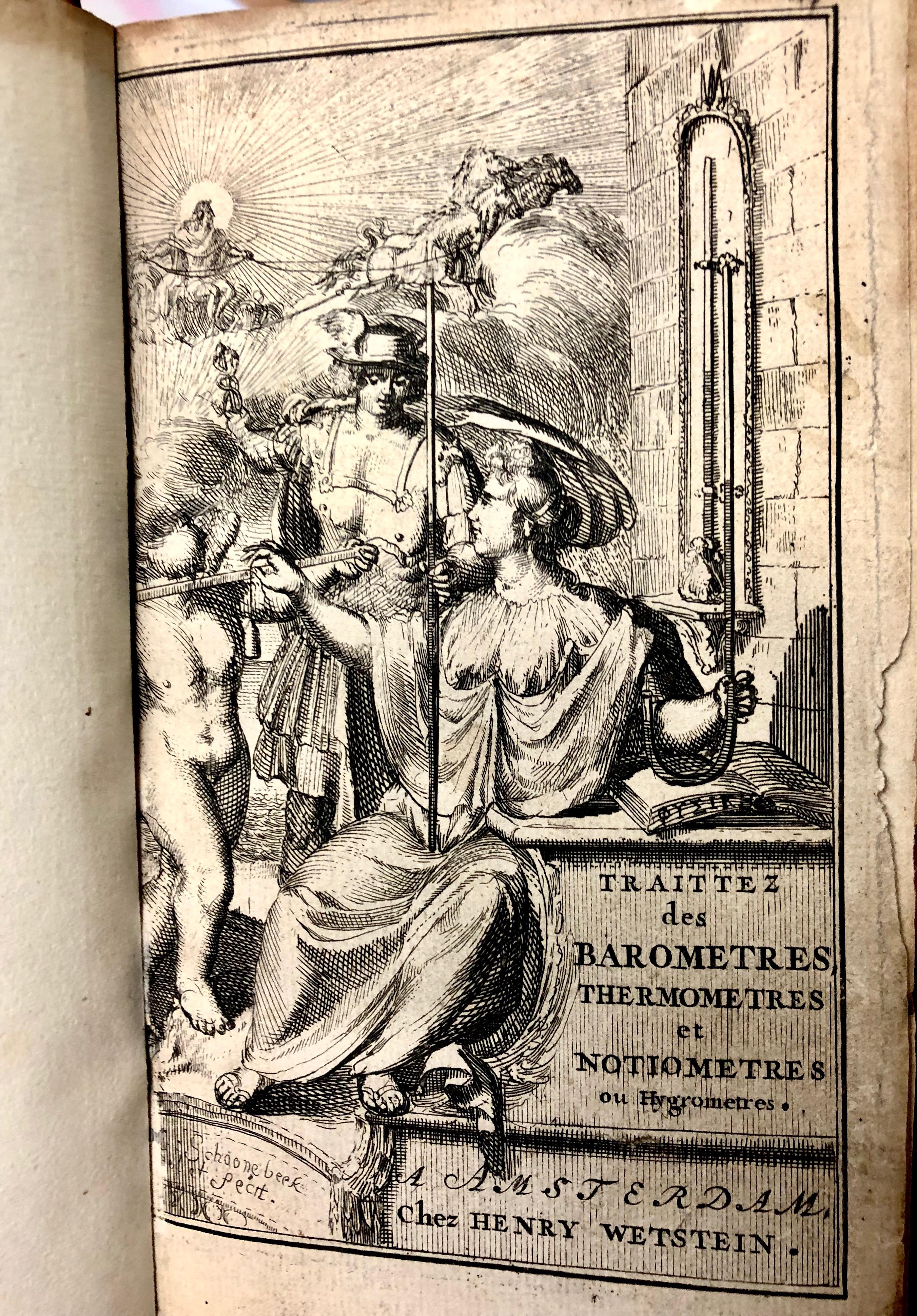 Illustration from ' Traittez des baromètres, thermomètres, et notiomètres : ou hygromètres' by Joachim d'Alence, 1688, Amsterdam. (Maddison Collection 2A5, F10456500)