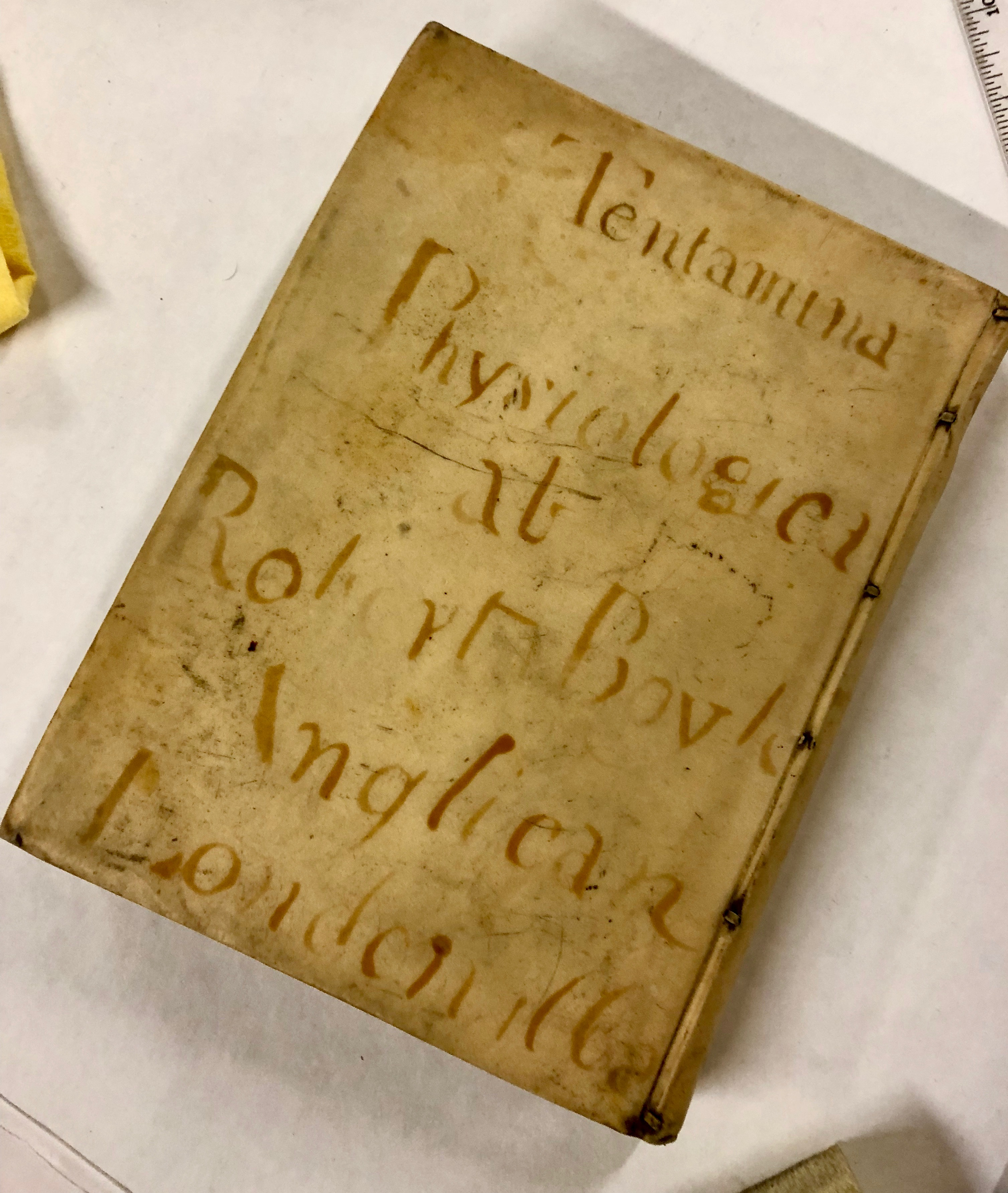 Writing on vellum! ' Tentamina quaedam physiologica : ... conscripta a Roberto Boyle .... Historia fluiditatis et firmitatis', 1668, London. (Maddison Collection 1B4, F10458600)