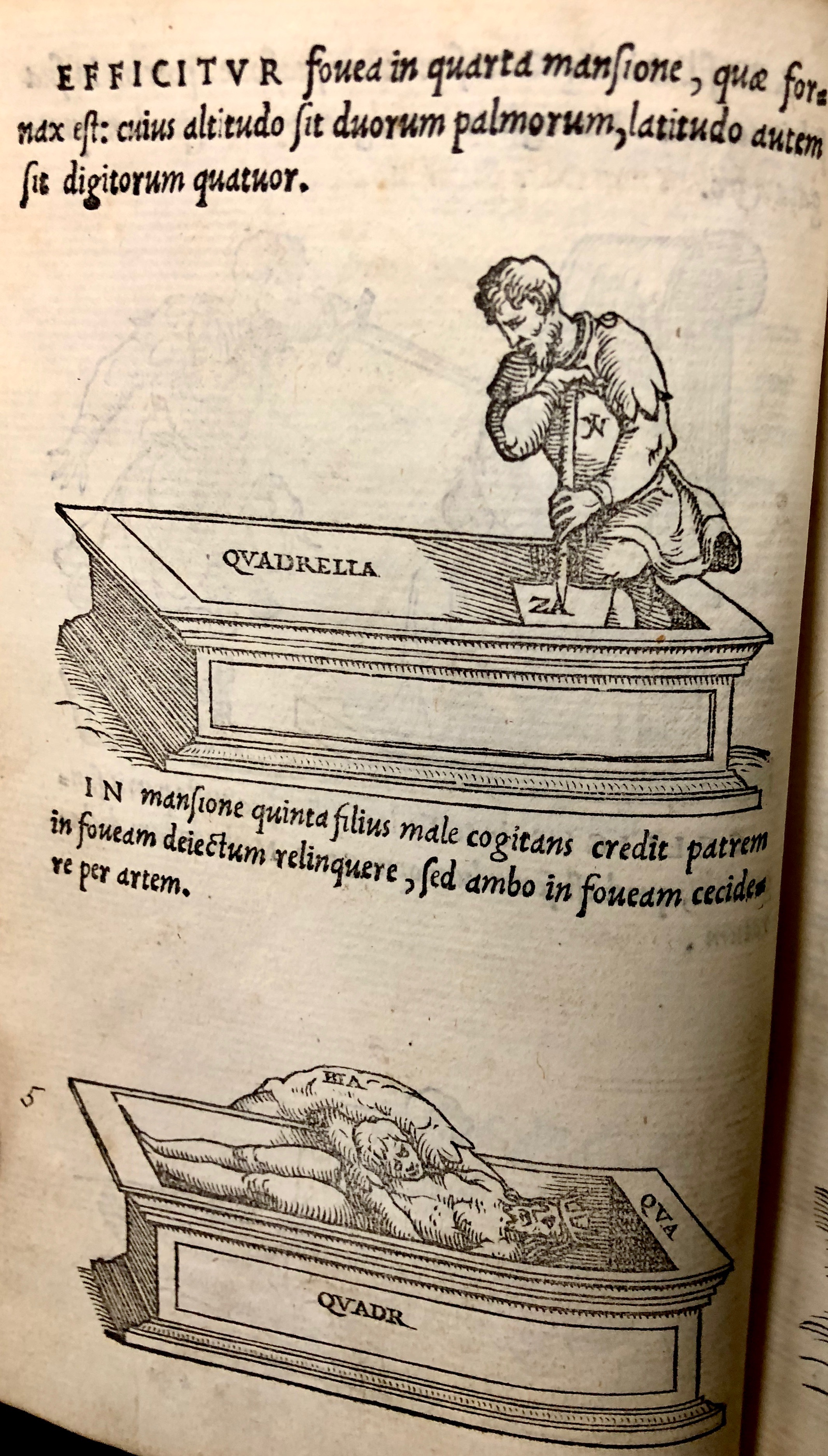 Step four: dig a grave in the furnace room. Step five: the son throws his father, the King, into the grave - but oh no! He falls in too!  From ' Pretiosa margarita : novella de thesauro, ac pretiosissimo philosophorum lapide' by Giano Lacinio, 1546, Venice. (Maddison Collection 2B7, F10528400)