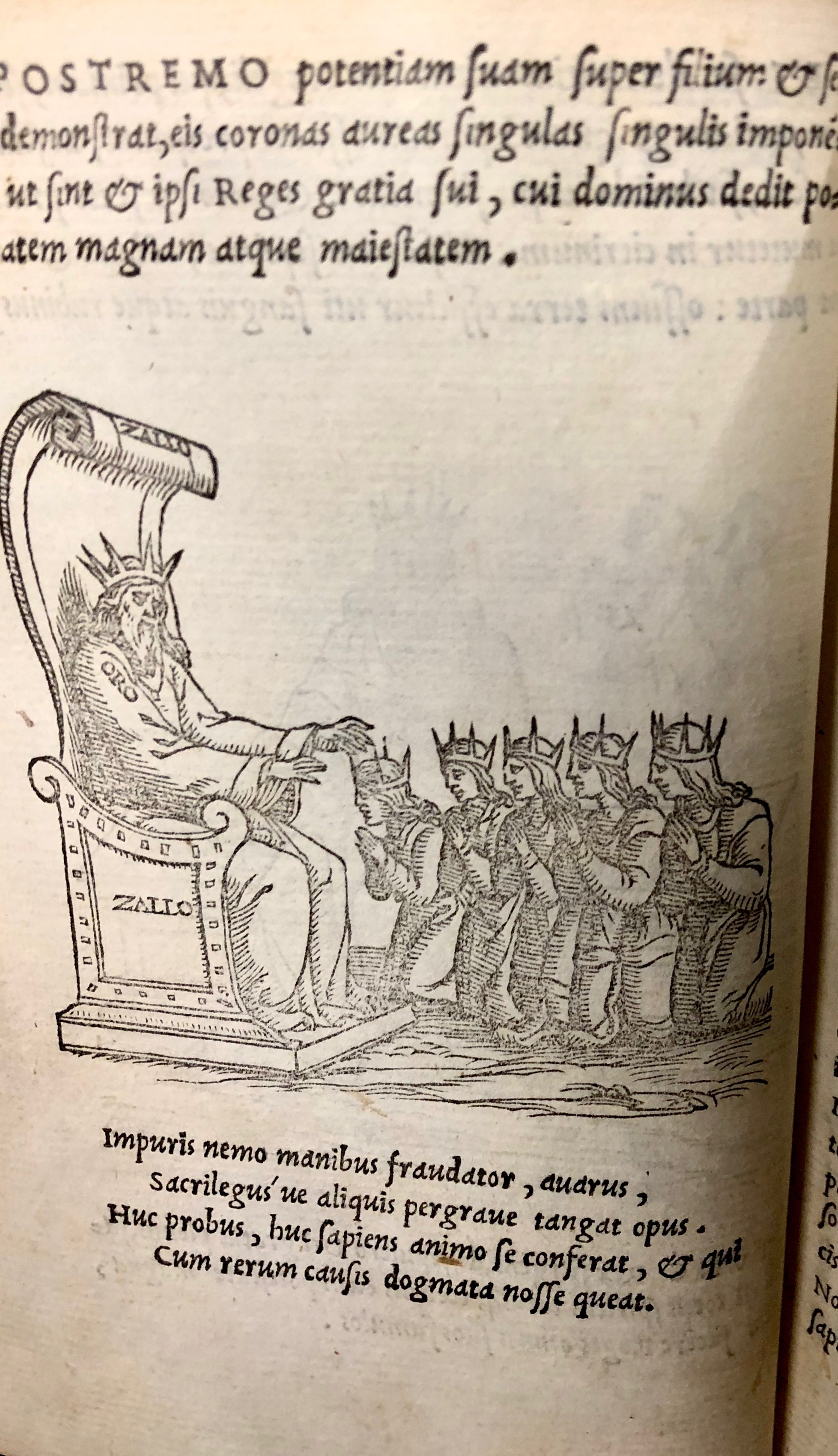 Step fourteen: the newly humbled King decides to share his power with his sons and servants. The end.  From 'Pretiosa margarita : novella de thesauro, ac pretiosissimo philosophorum lapide' by Giano Lacinio, 1546, Venice. (Maddison Collection 2B7, F10528400)