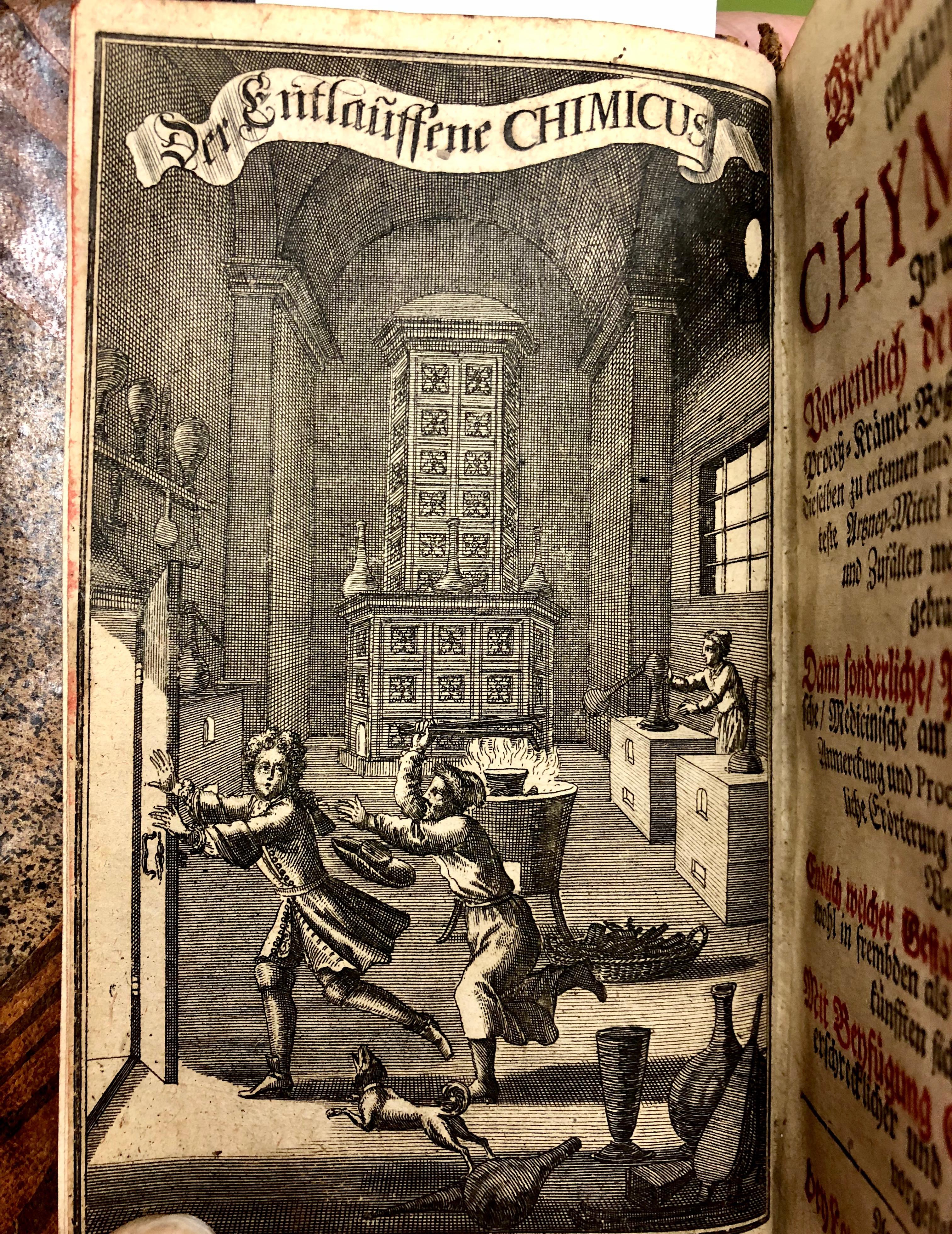 Illustration from 'Des getreuen Eckharts entlauffener Chymicus : ... der Laboranten und Process-Krämer Bossheit und Betrügerey ...' by Johann Christoph Ettner, 1697, Augsberg and Leipzig. (Maddison Collection 2A24, F10610300)