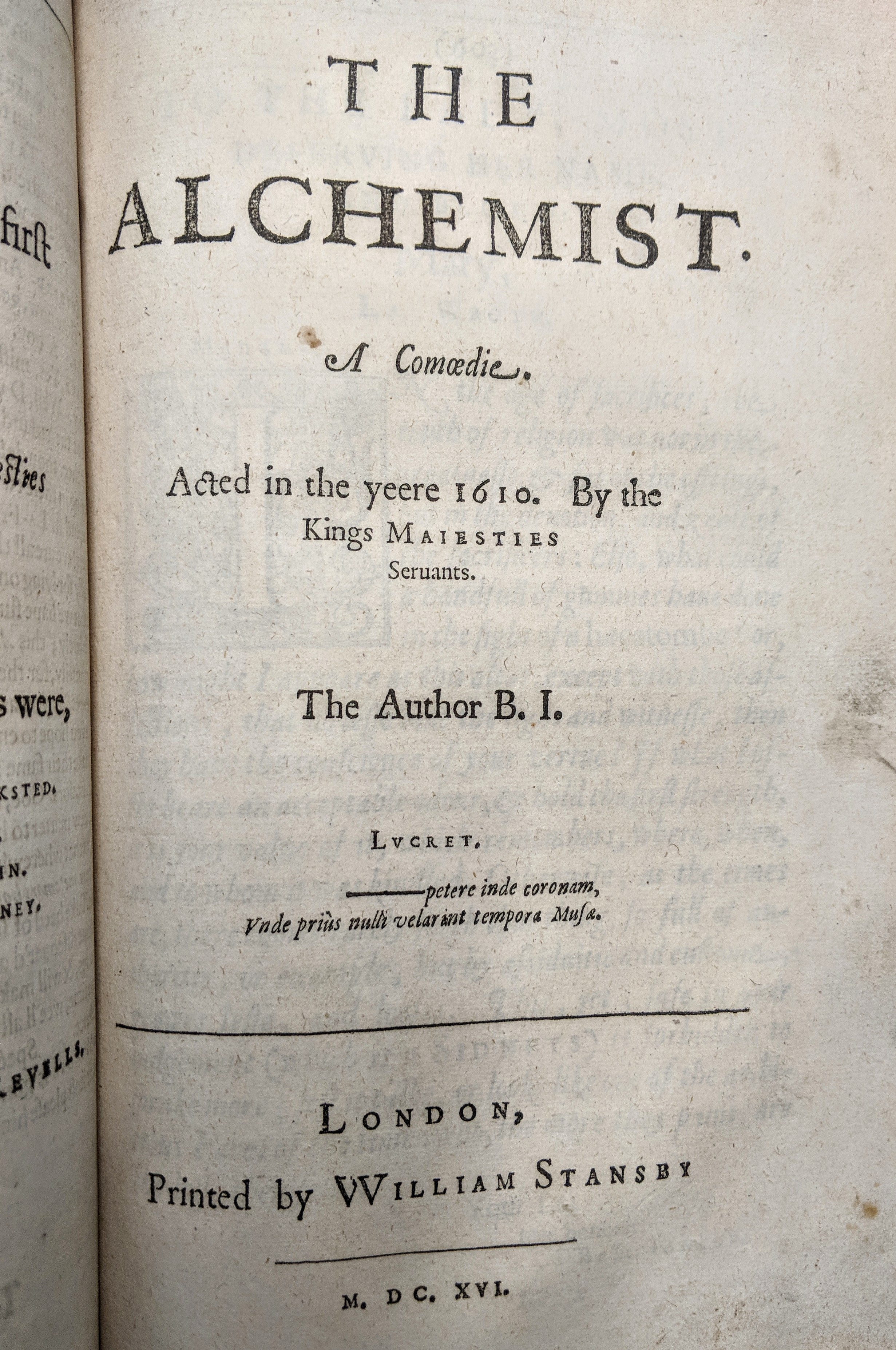 Title page from 'The Alchemist' by Ben Jonson in Jonson's First Folio of 1616.
