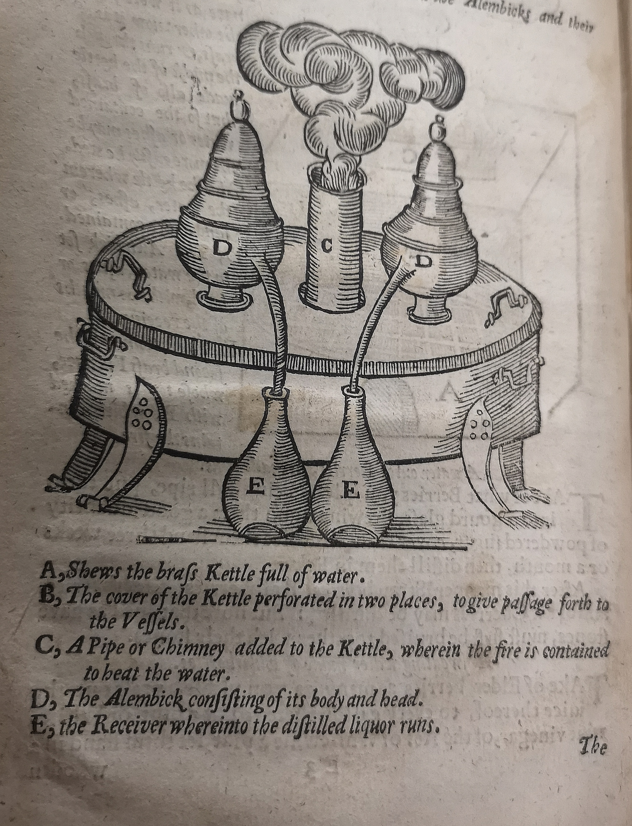 This was one method of distillation being utilised in 1653, which looks very similar to a modern day distillation technique! On a large drum sit 2 identical vessels, and in between them is a ventilation shaft allowing smoke to escape. The two vessels on the drum are connected by long thin spouts to two conical flasks,designed to receive the run off liquor.
