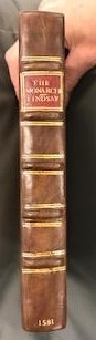 Quarter leather binding, impressed with gold.