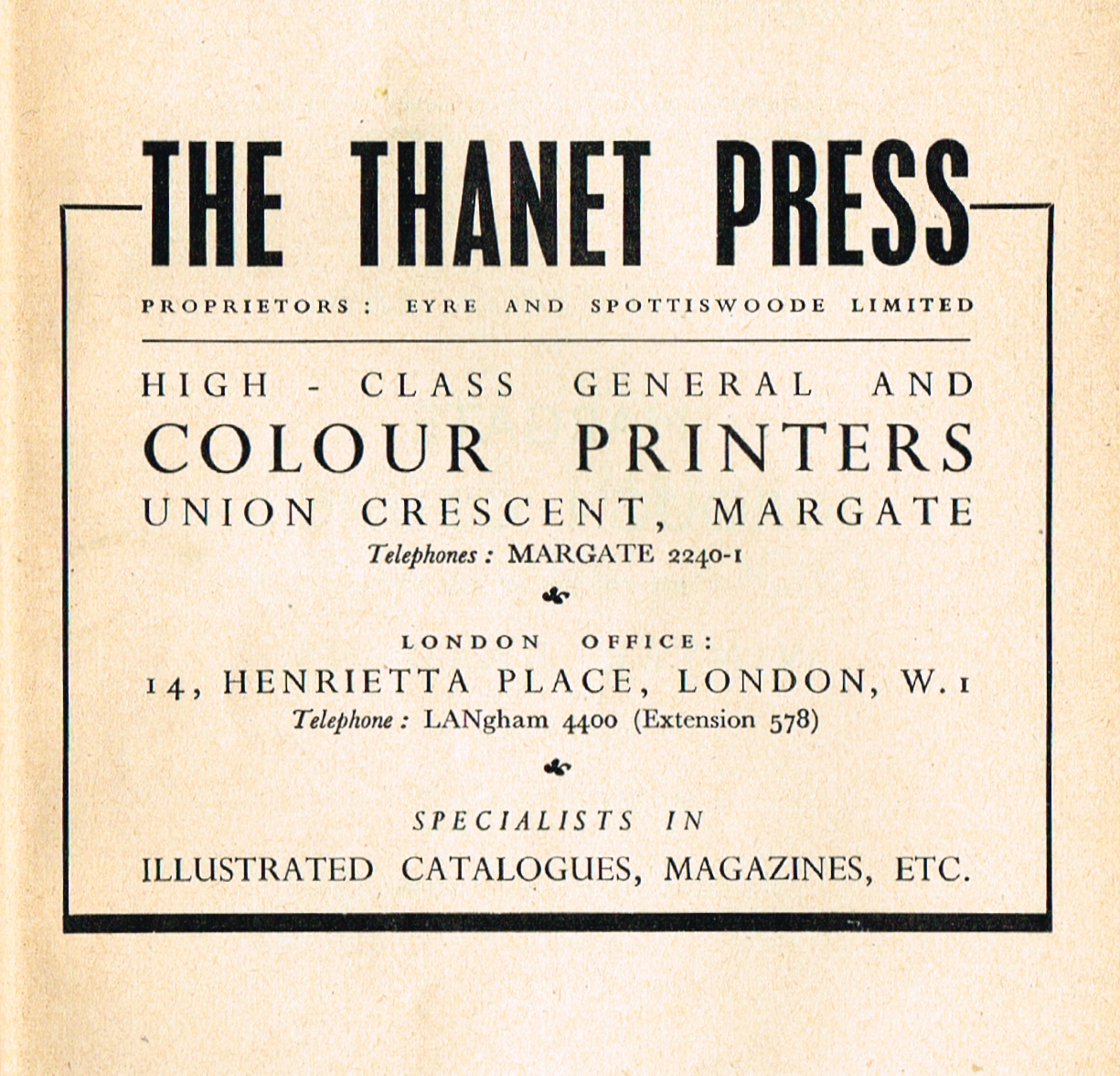 Advertisement for The Thanet Press