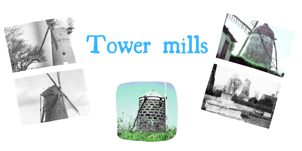Lots of tower mills: note the brick and cylindrical body