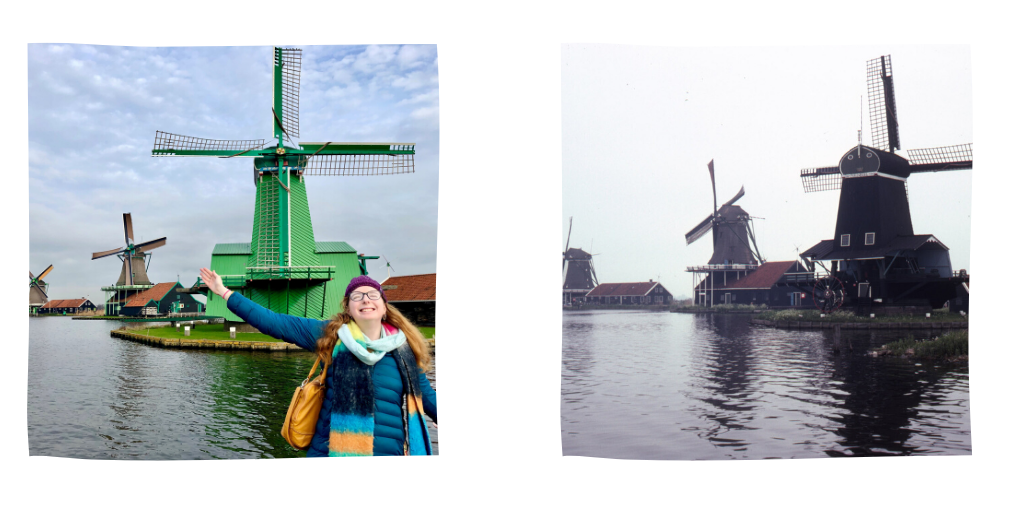 Zaanse Schaans windmills in 2018 and 1982.
