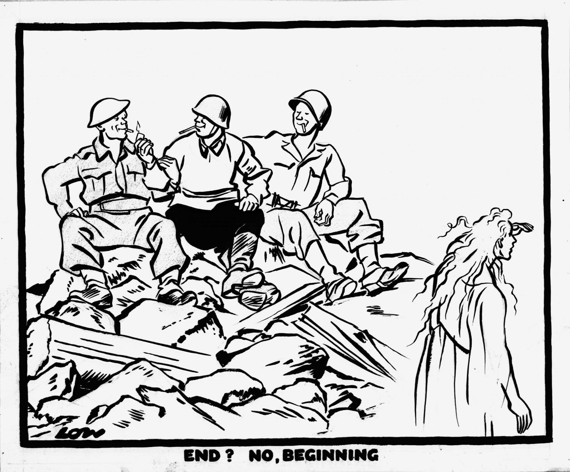 David Low, 'End? No - beginning', Evening Standard, 11th May 1945 (DL2417)