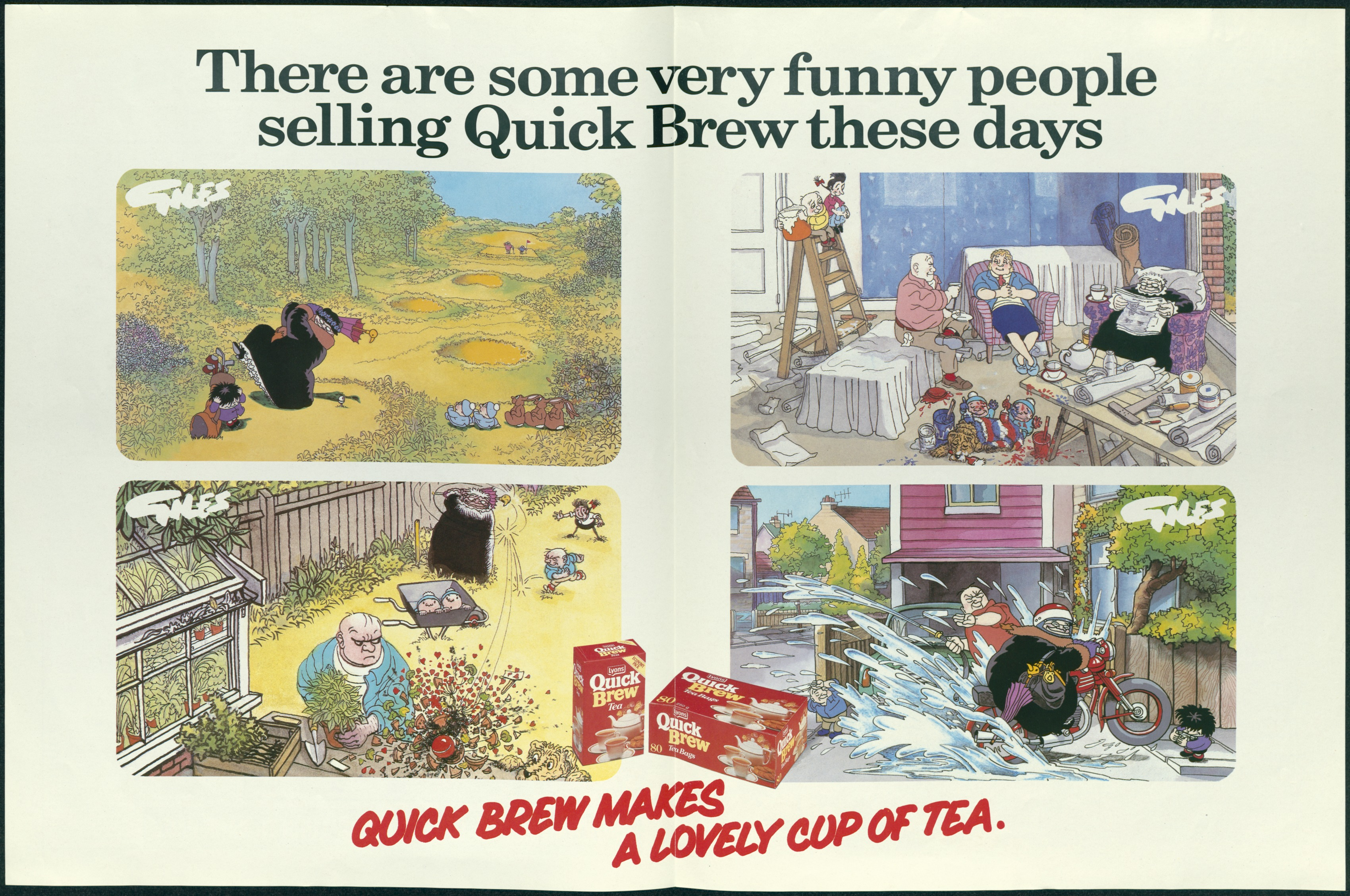 Centre spread of Special 'T-Day Edition' of the Daily Express, celebrating the appearance of the Giles family in the Tetley Quick Brew adverts - Carl Giles, Daily Express, c. 1983 (Image ref: GAAD0021B)