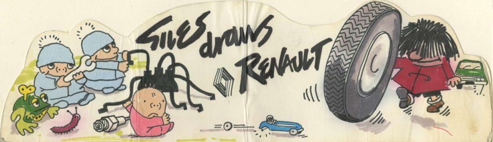 Sample colour artwork advertising Renault cars - Carl Giles, c.1975 (Image ref: GACS00008)