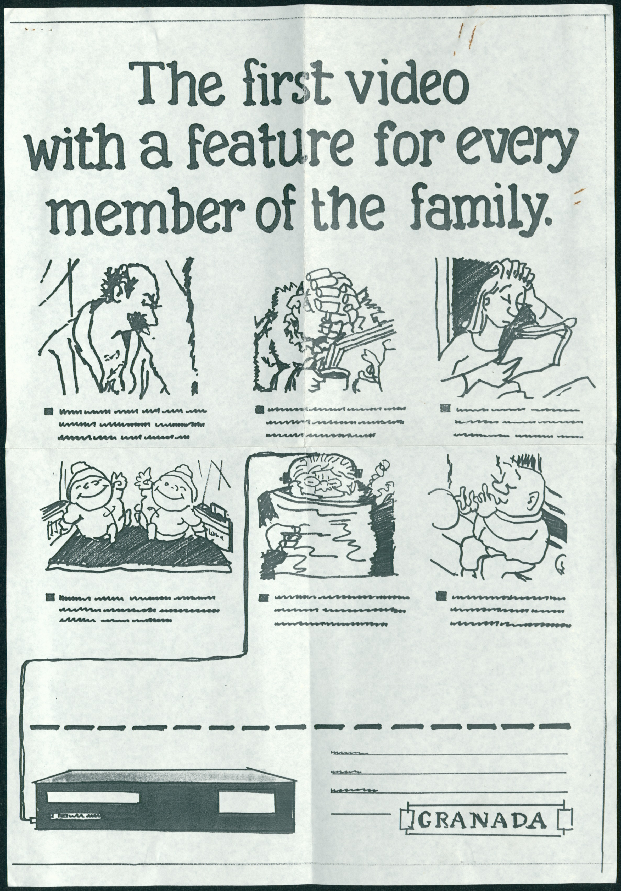 Photocopy of rough draft for proposed advert for Granada video players featuring members of the Giles family; sent by Group X Advertising with request for Giles to draw the final version - Group X Advertising, undated (Image ref: GACS00593)