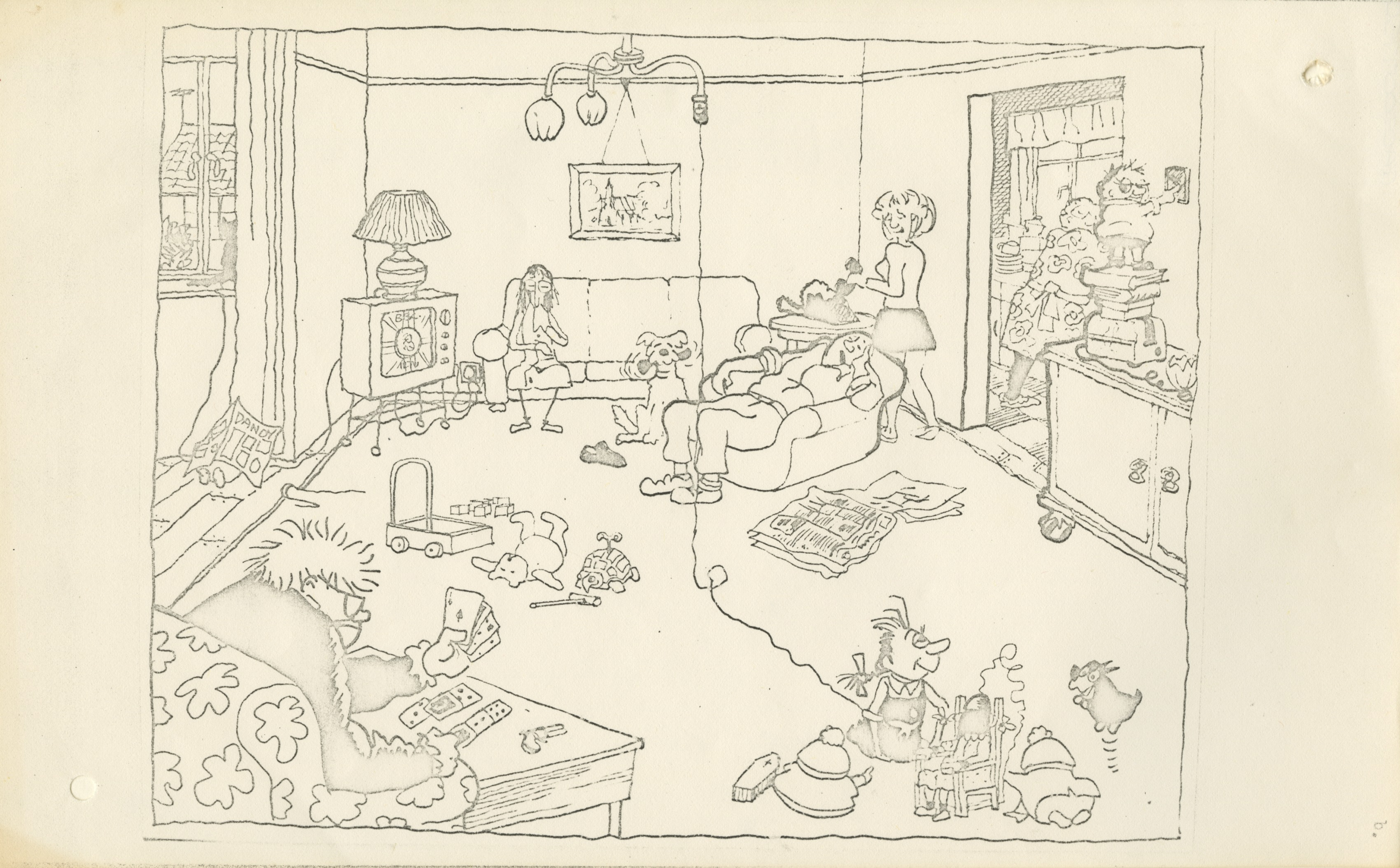 Drawing of opening scene of draft script for an episode of an animated comedy series about the Giles Family - James McClure, undated (Image ref: GACS00775C)