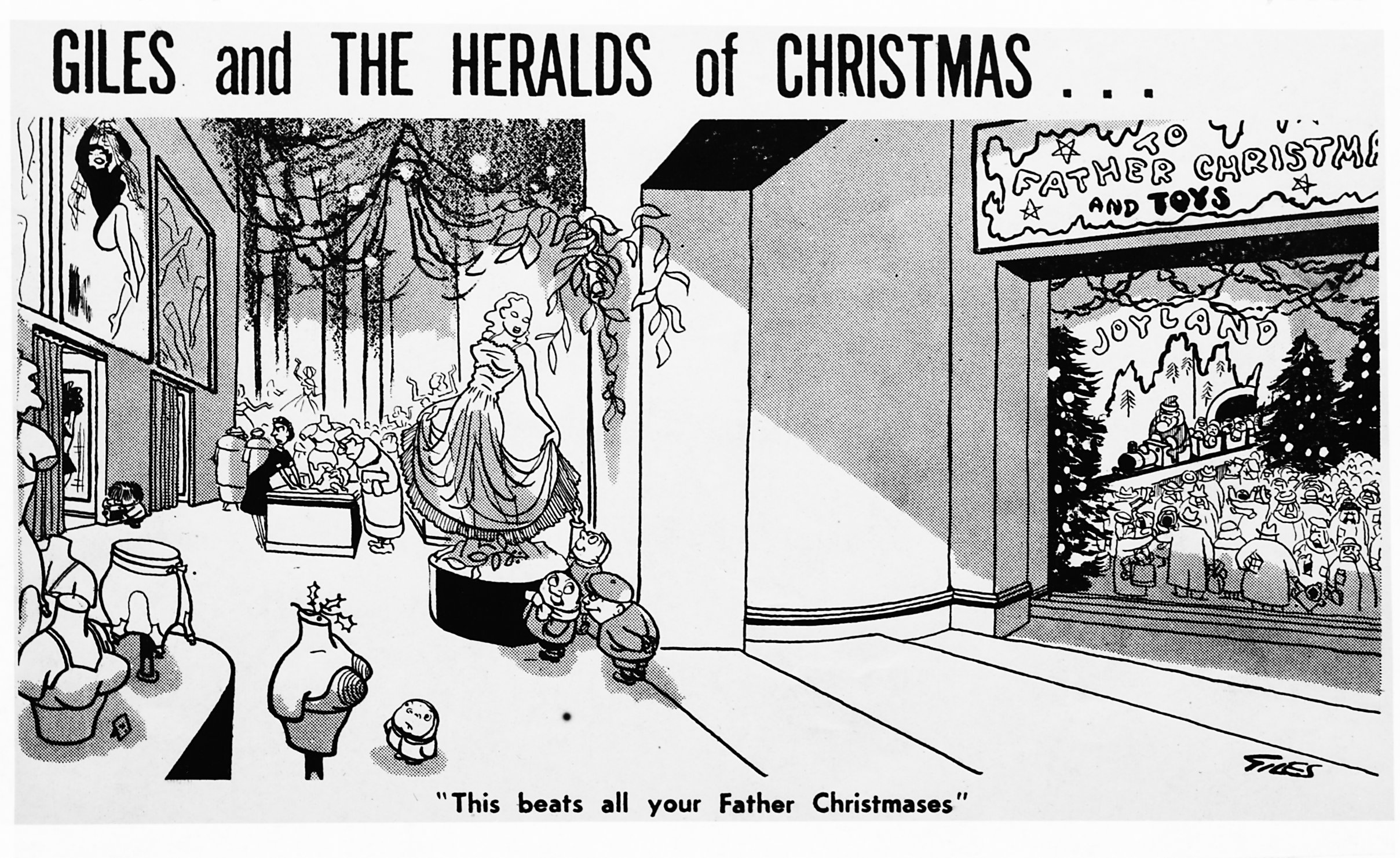 """This beats all your Father Christmases."" - Carl Giles, Daily Express, 11 December 1956 (Image ref: GAN0166)"