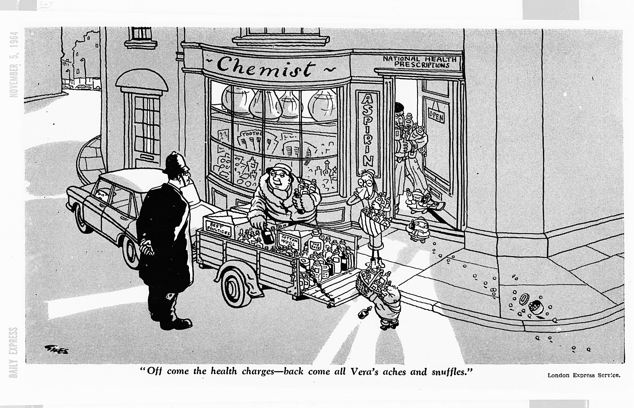 """""""Off come the health charges - back come all Vera's aches and snuffles."""" - Carl Giles, Daily Express, 5 November 1964 (Image ref: GAN1268)"""