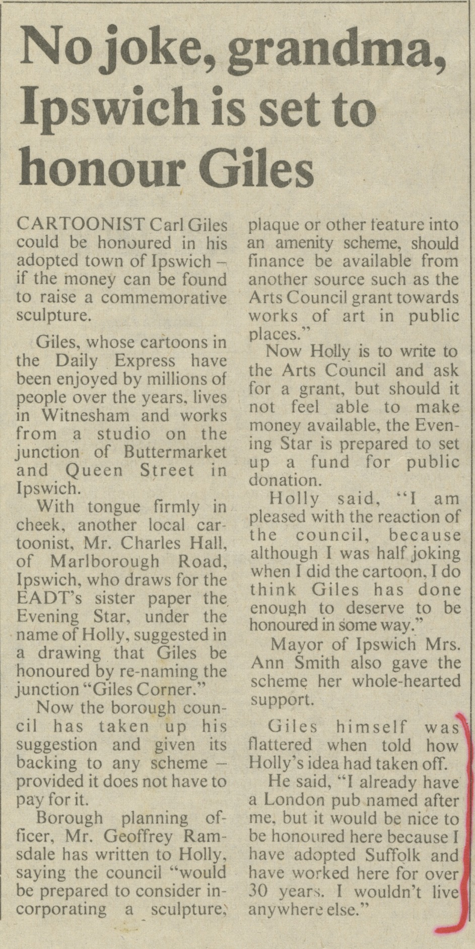 Article entitled 'No joke, grandma, Ipswich is set to honour Giles', about the proposed Giles statue in Ipswich - East Anglian Daily Times, 6 June 1981 (Image ref: GAPA0075)