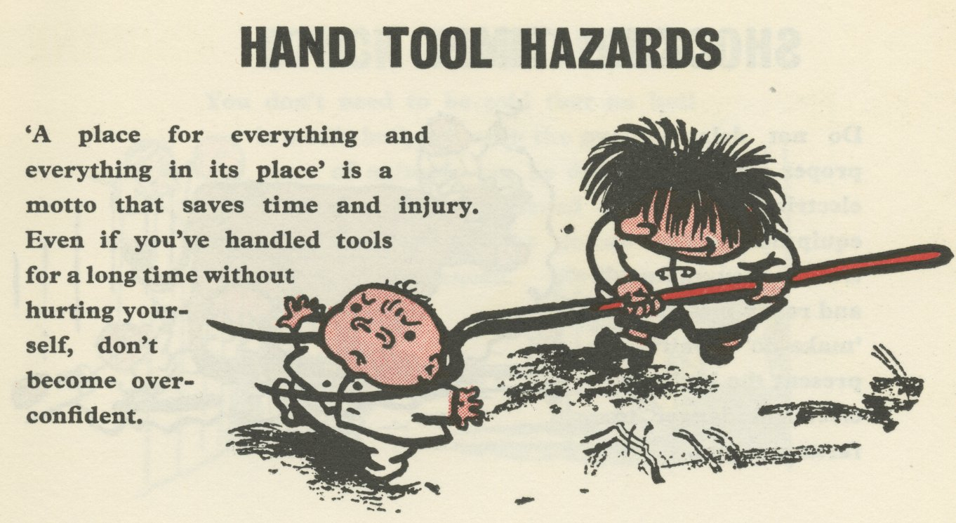 Part of cover cartoon in booklet 'Safe hands on the Land' - Carl Giles, Royal Society for the Prevention of Accidents, 1956 (Image ref: GAPC0244)