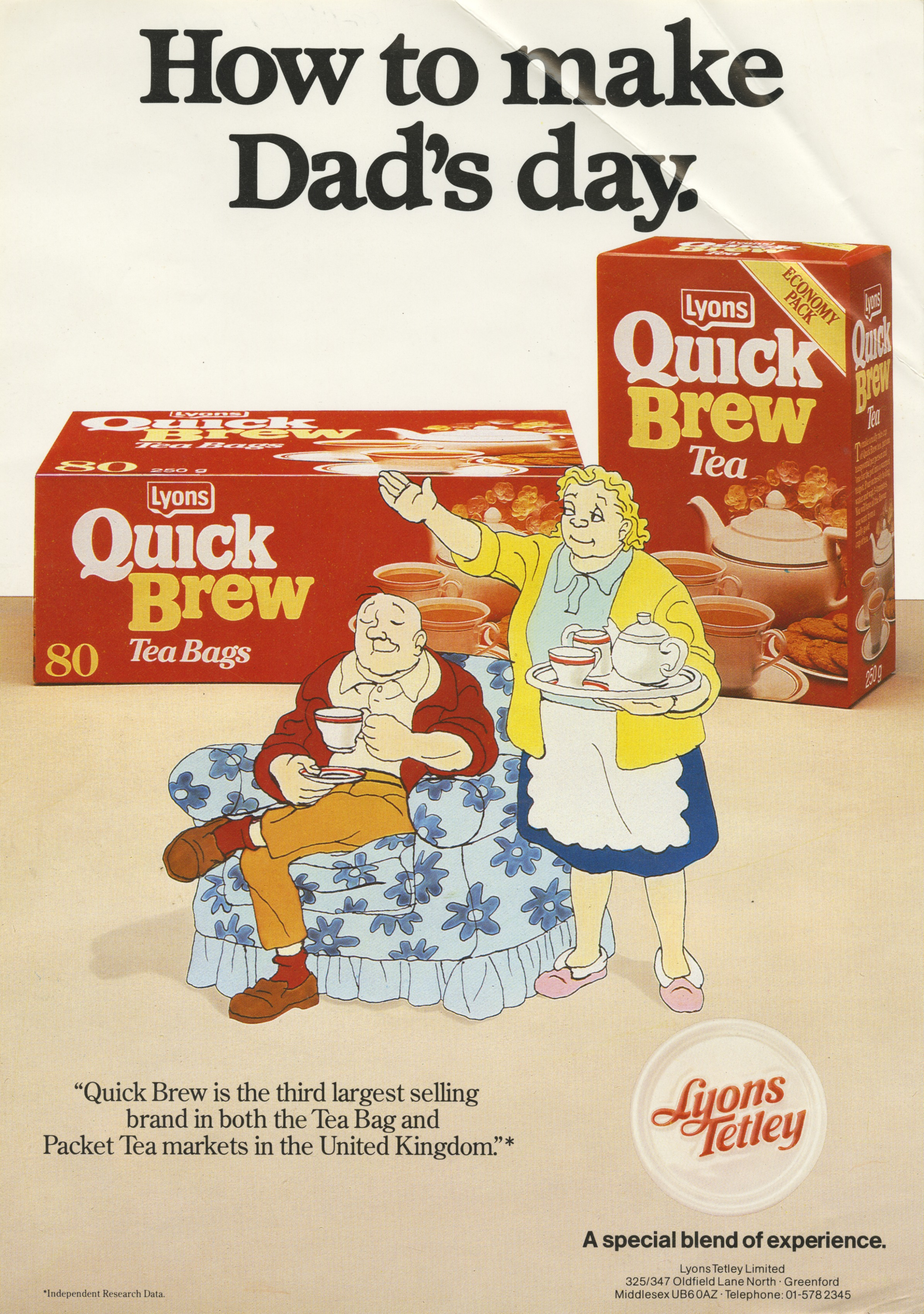 Colour advert for Lyons Quick Brew tea bags with Giles cartoon - Carl Giles, c.1985 (Image ref: GAPC0611)