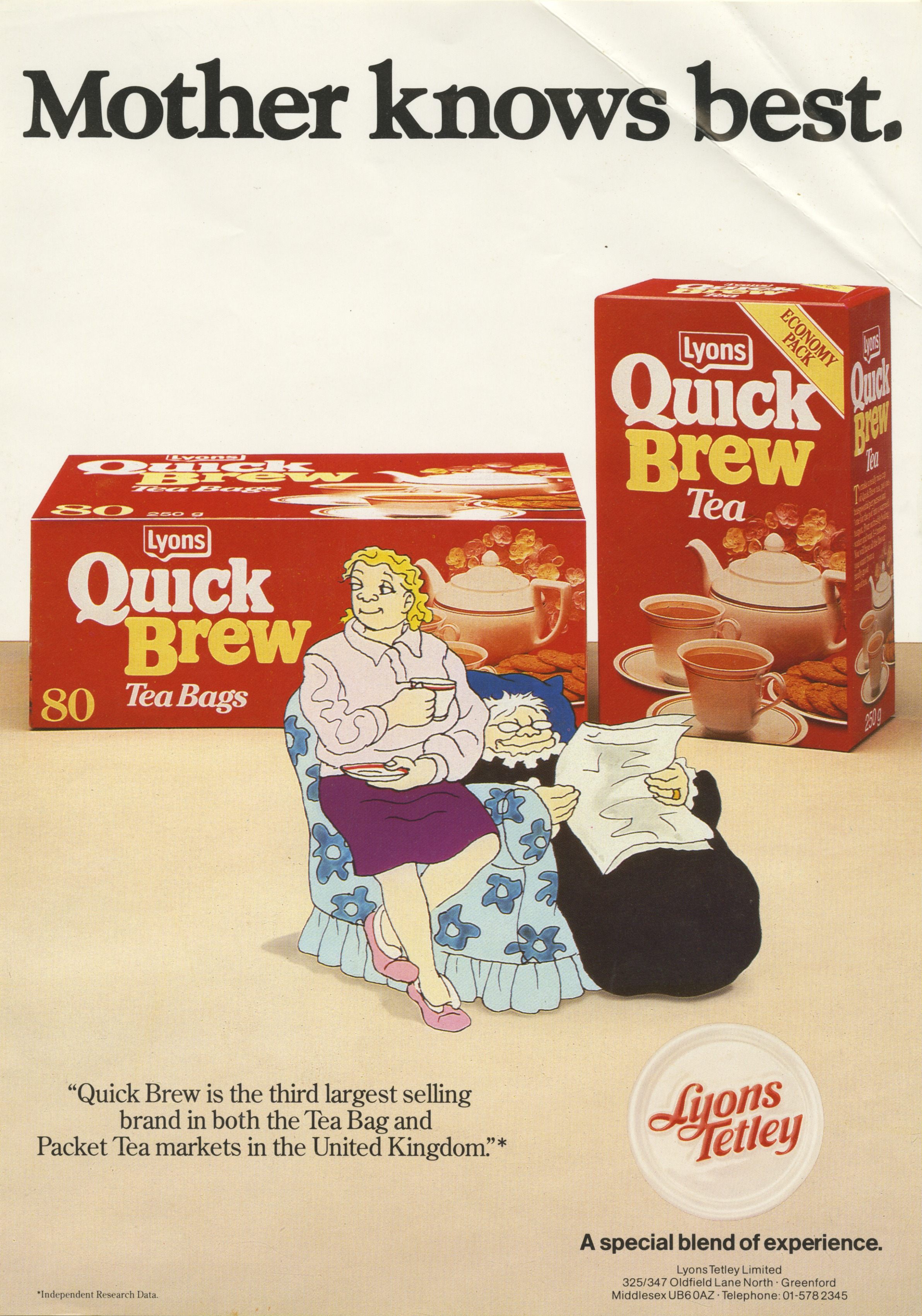 Colour advert for Lyons Quick Brew tea bags with Giles cartoon - Carl Giles, c.1985 (Image ref: GAPC0612)