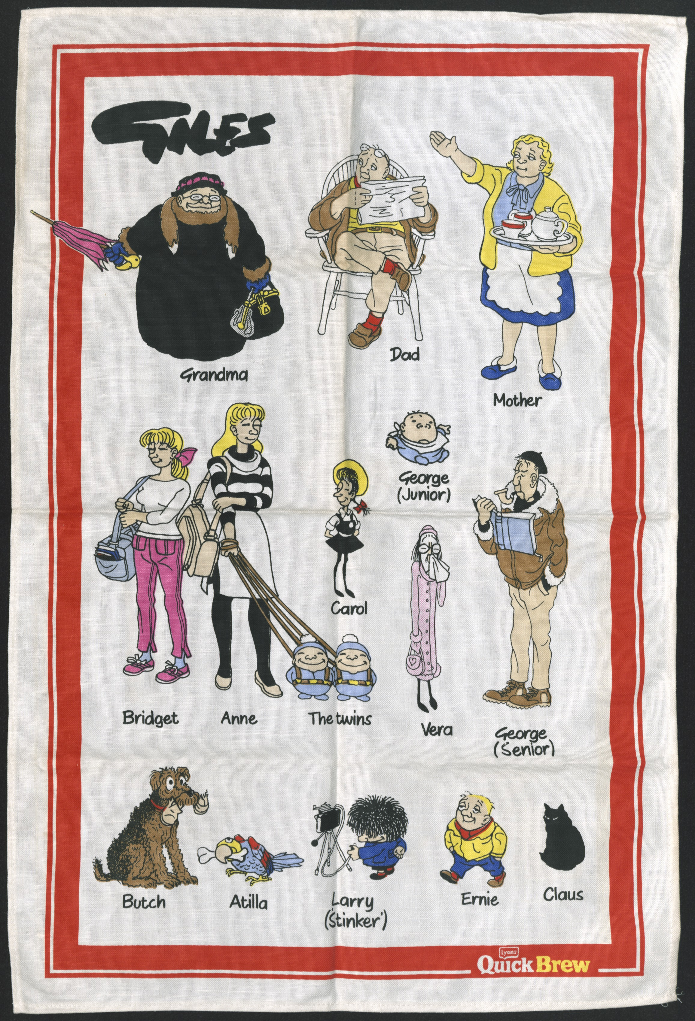 Tea towel featuring the Giles family for a Lyons Quick Brew tea promotion - Carl Giles, c.1986 (Image ref: GAX00006)