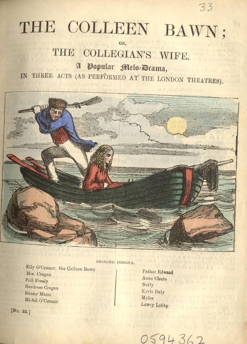 Title page of a Penny Pictorial edition of Dion Boucicault's play The Colleen Bawn, showing the famous drowning scene