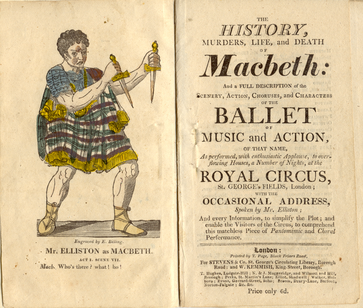 Title page for a ballet version of Macbeth, complete with am illustration of Macbeth holding two daggers. from the Pettingell collection.