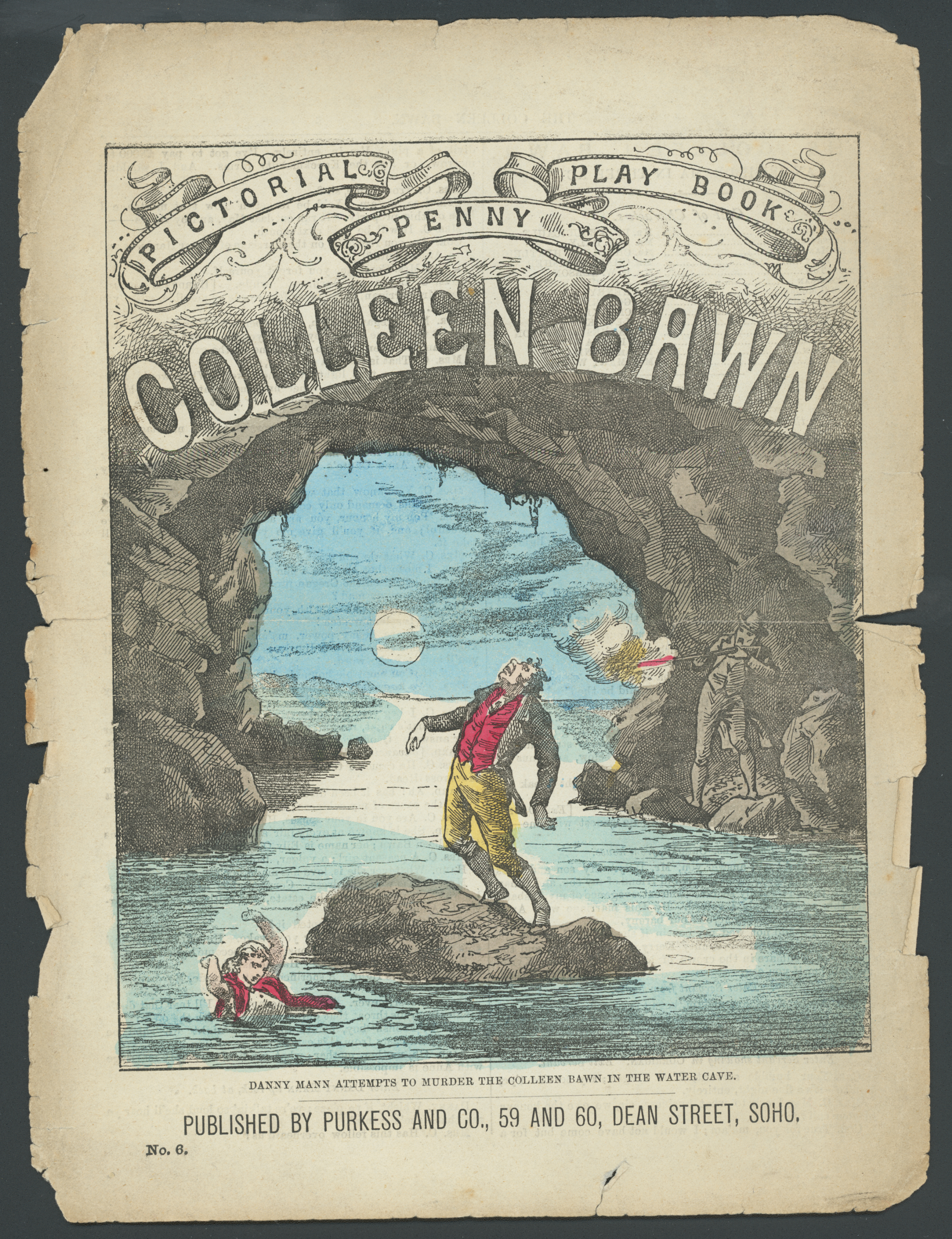 Front cover of a Penny Pictorial Play Book of 'The Colleen Bawn' by Dion Boucicault, featuring a colour illustration of a scene from the play.