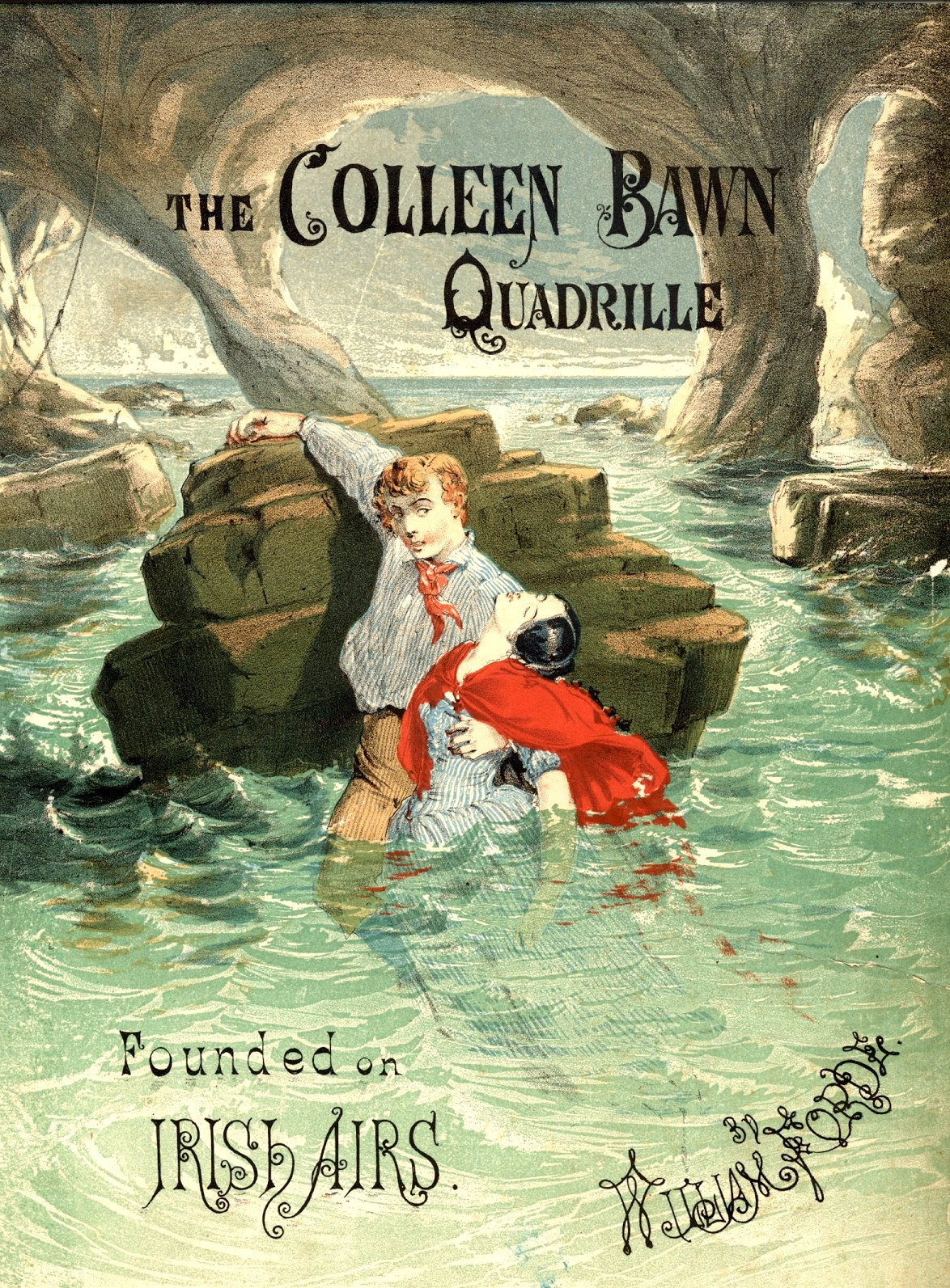 """Cover for sheet music accompanying the play """"The Colleen Bawn"""" by Dion Boucicault, c.1861, featuring the famous drowning scene"""