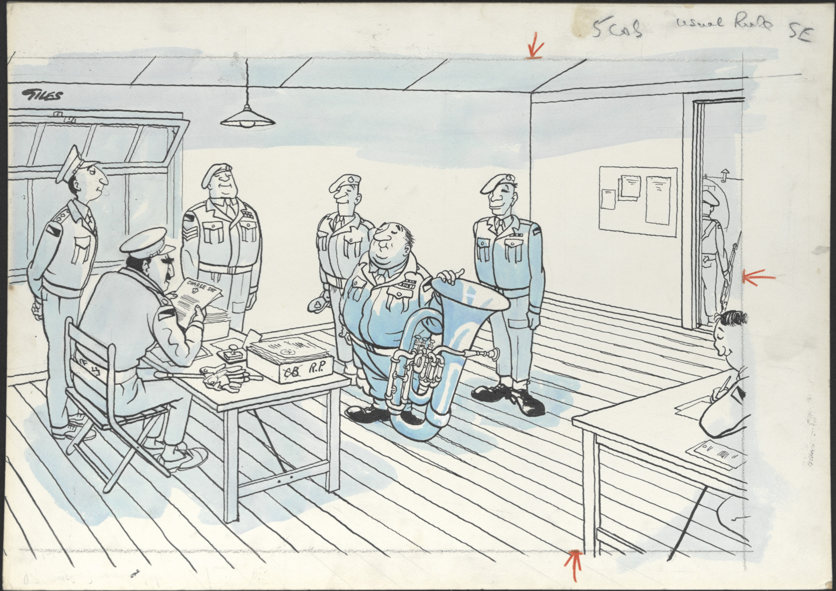Cartoon by Carl Giles showing a group of soldiers being told off for inserting a mischievous page of music into the official performance