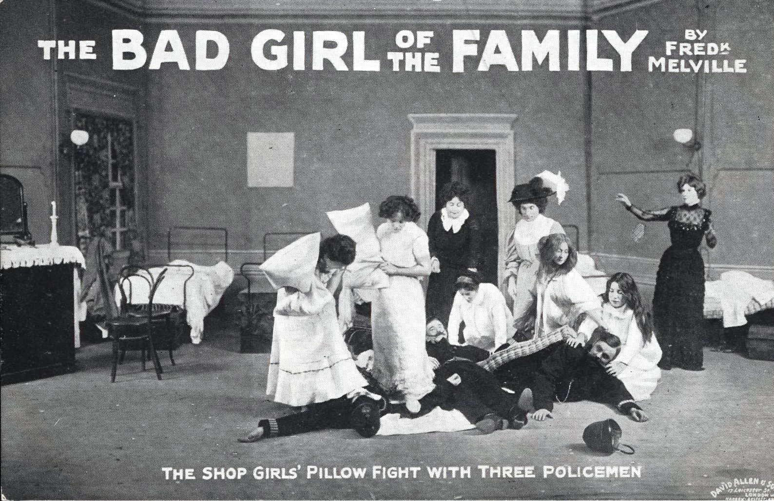 Black and white postcard photograph publicising 'The Bad Girl of the Family' by Frederick Melville, and showing a scene from the play