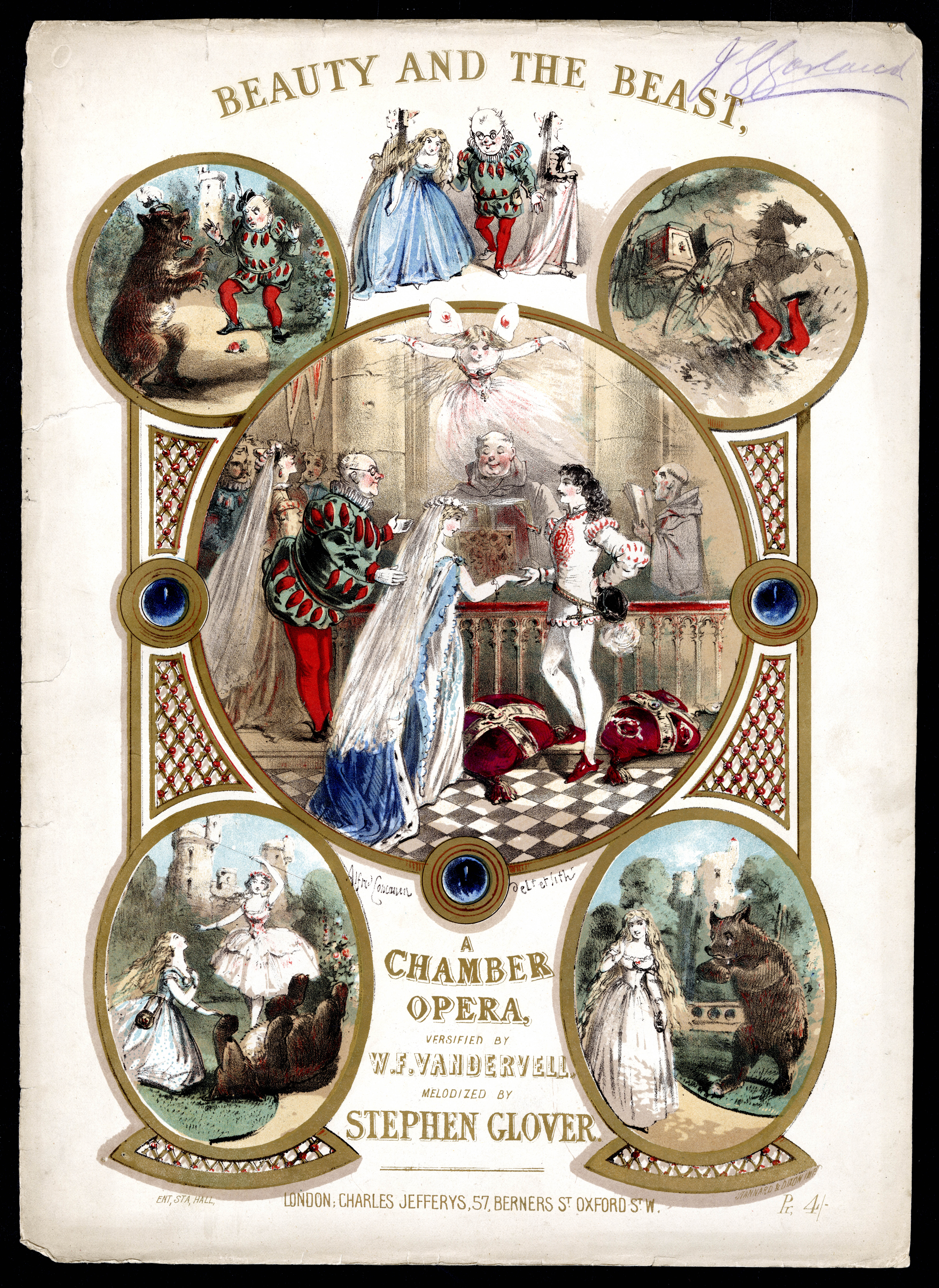 Cover for sheet music of 'Beauty and the Beast: A Chamber Opera' with five illustrations