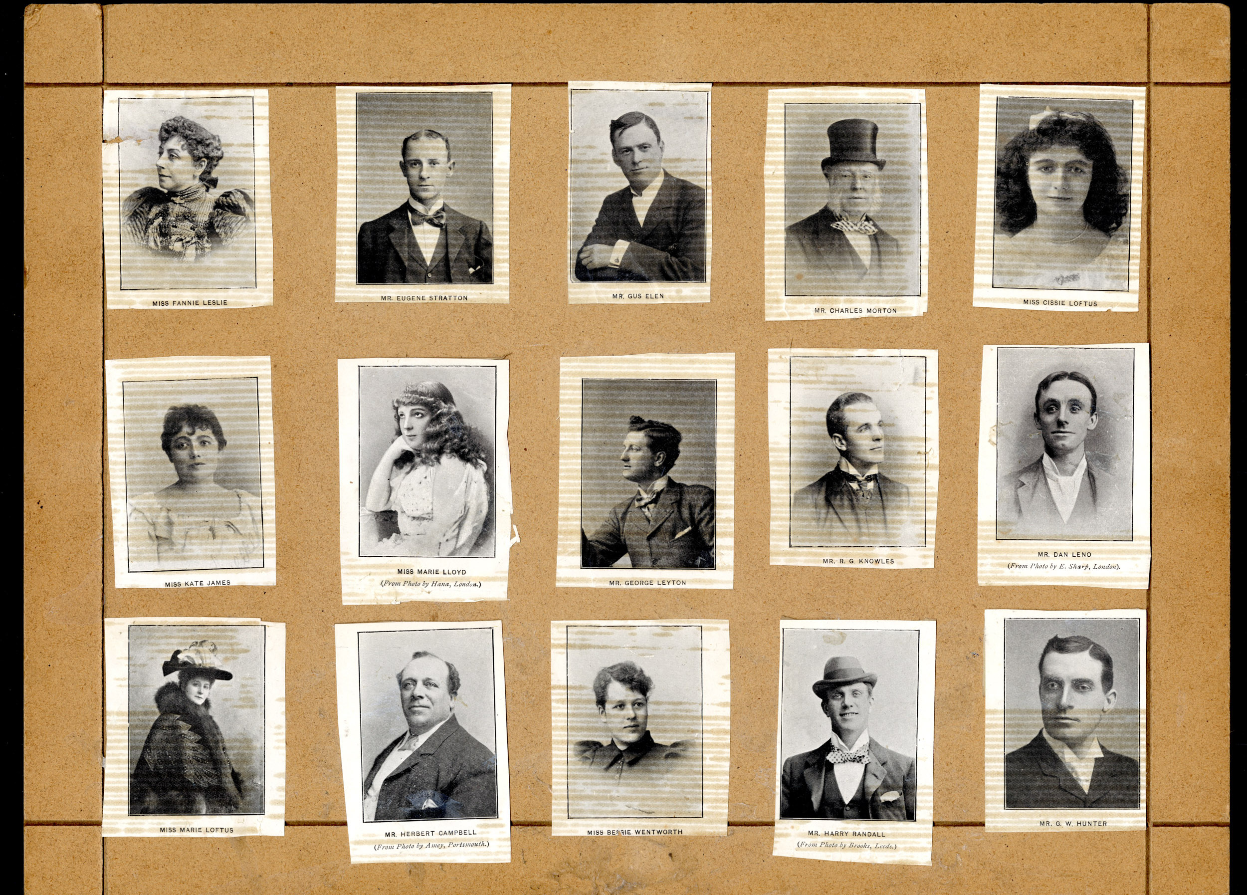 Selection of photographs of music hall stars pasted onto a brown backing board from the Max Tyler Music Hall Collection