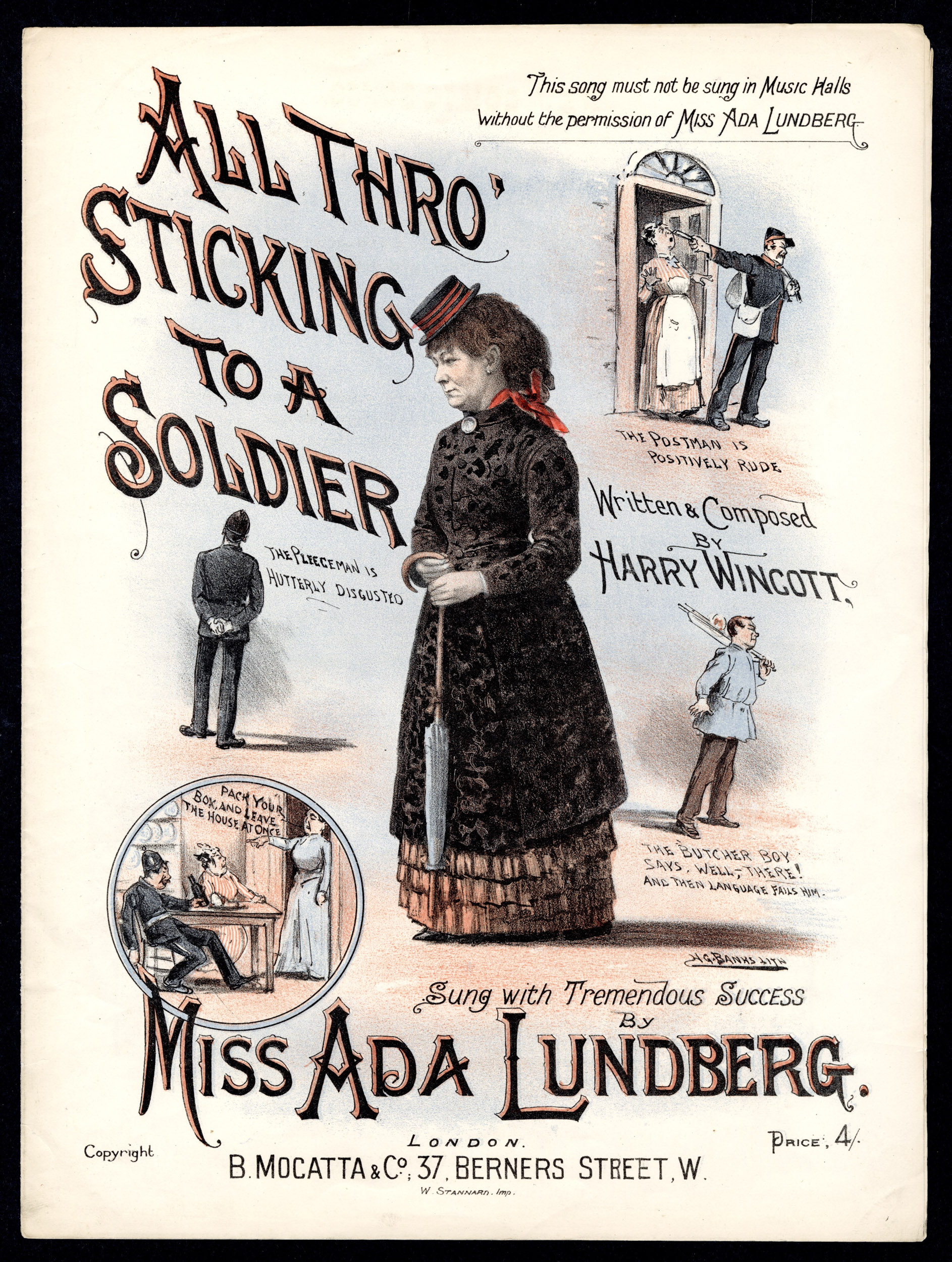 Cover for sheet music to 'All Thro' Sticking to a Soldier' sung by Miss Ada Lundberg, from the Max Tyler Music Hall collection