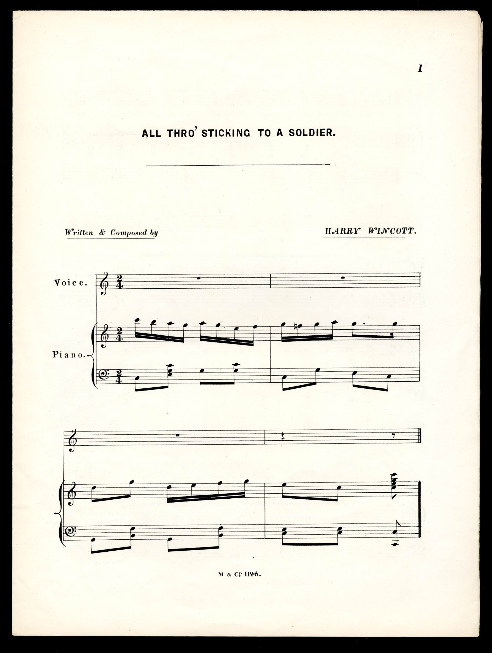 Musical score for 'All Thro' Sticking to a Soldier' sung by Miss Ada Lundberg, from the Max Tyler Music Hall collection