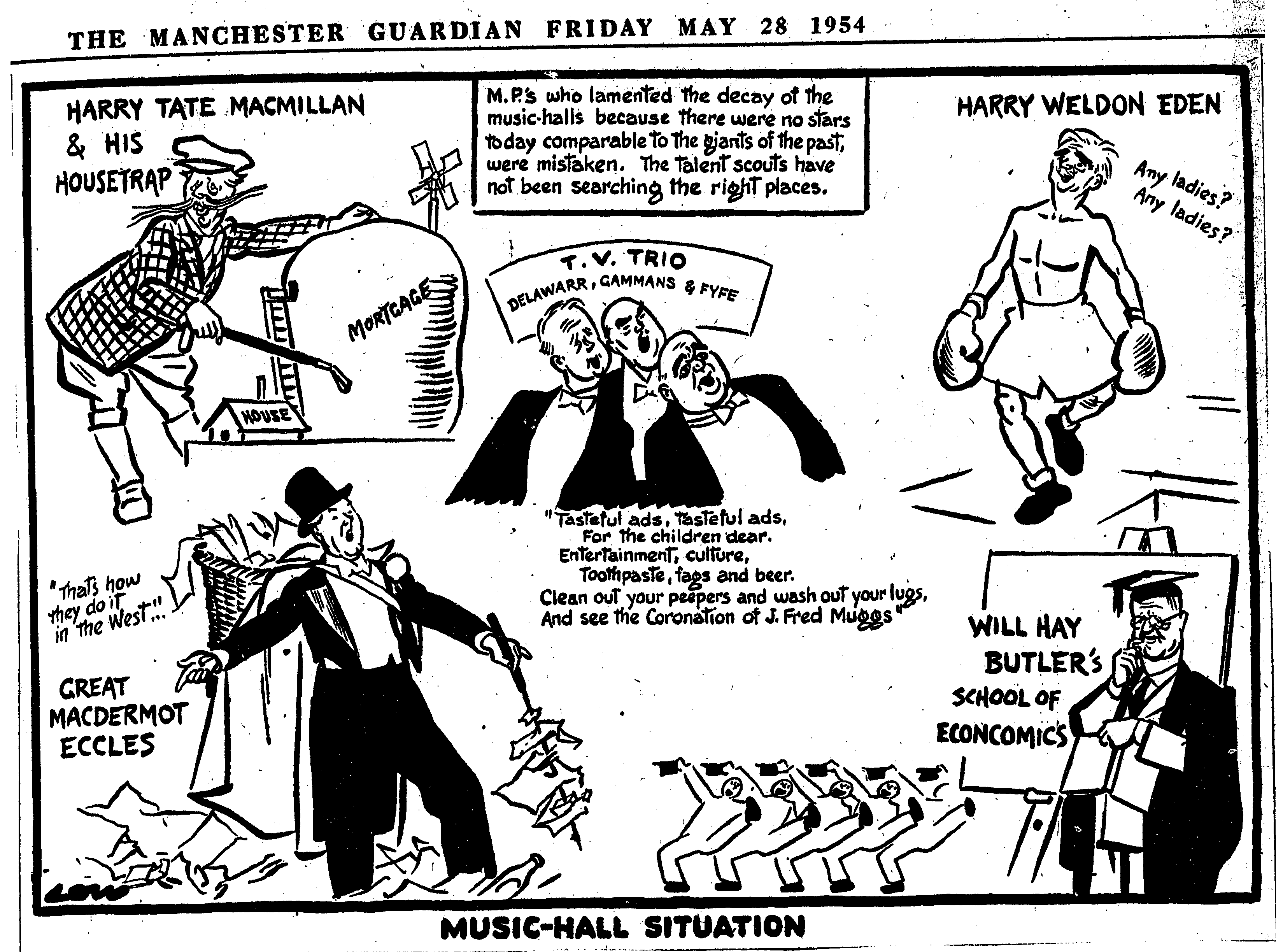 Cartoon by David Low comparing the current political situation to a night of music hall entertainment