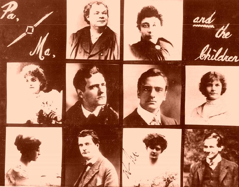 Image containing sepia-toned photographs of the Melville family
