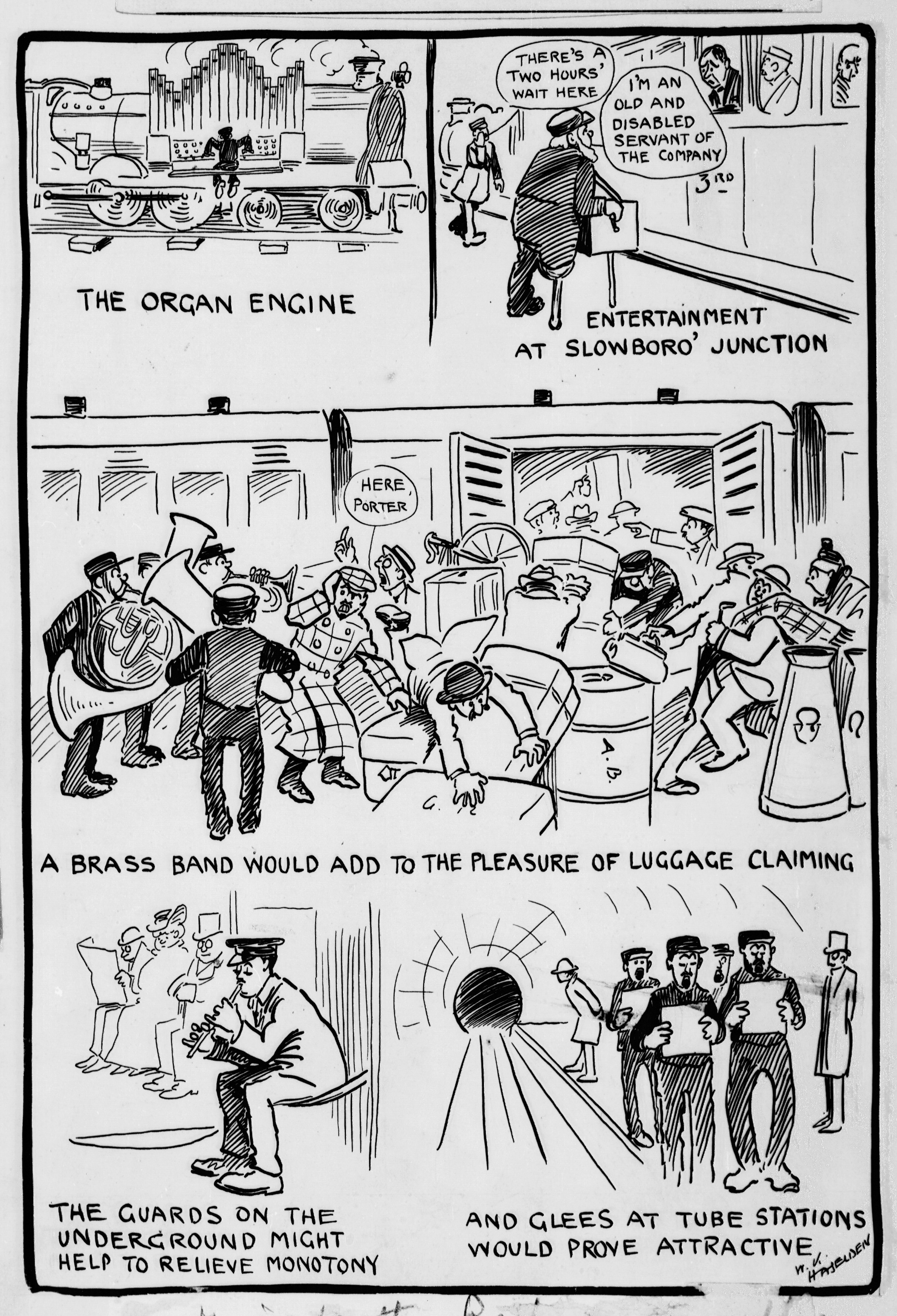 Cartoon by W.K. Haselden showing the different types of music that would entertain railway commuters