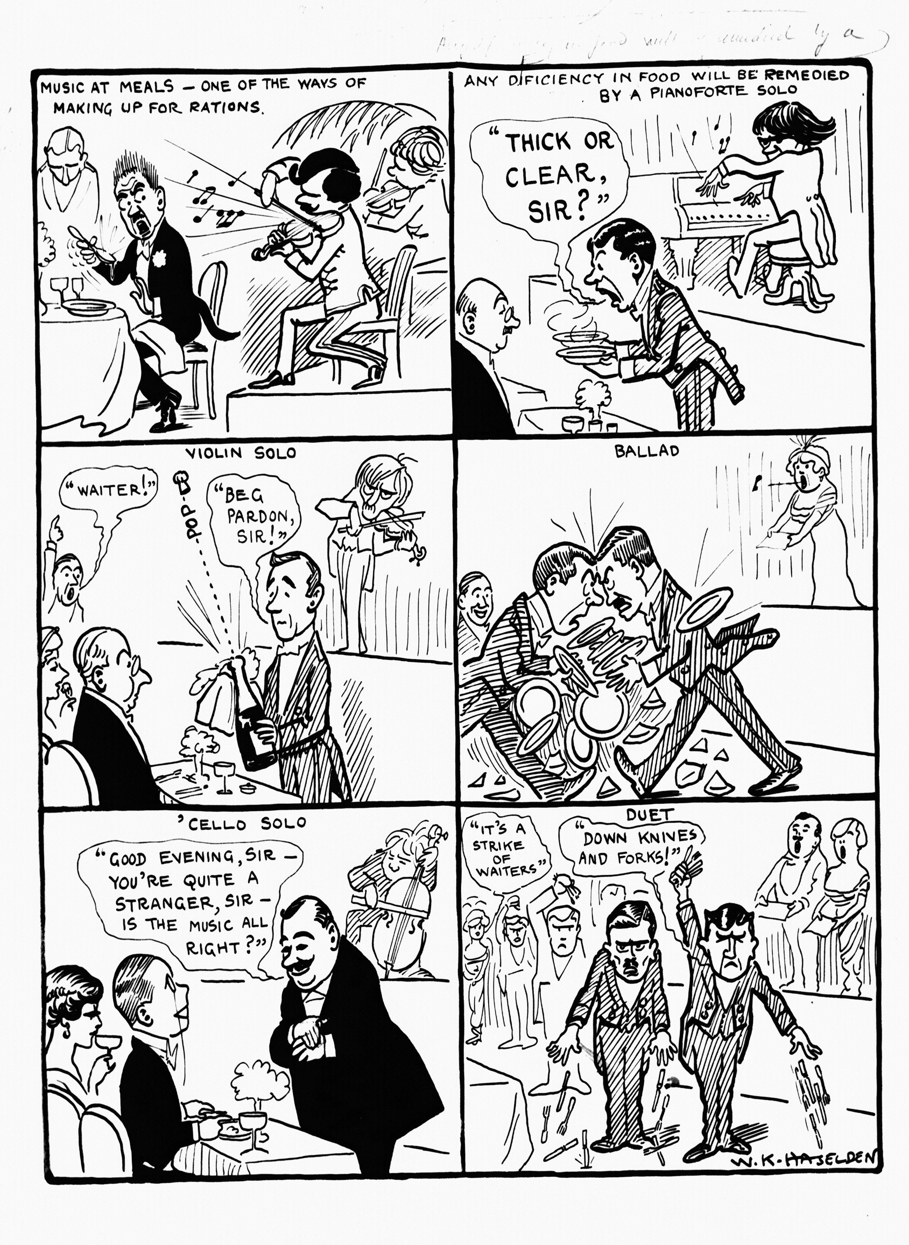 Cartoon by W.K. Haselden showing the excesses of combining musical performance with food