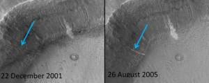 Active gully on slopes of an unnamed crater at ~36.6S 11.8W from the Mars Global Surveyor
