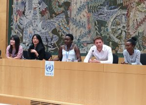 Greg Davies at the Intergovernmental Panel on Climate Change (IPCC) internship at the WMO building in Geneva 2018