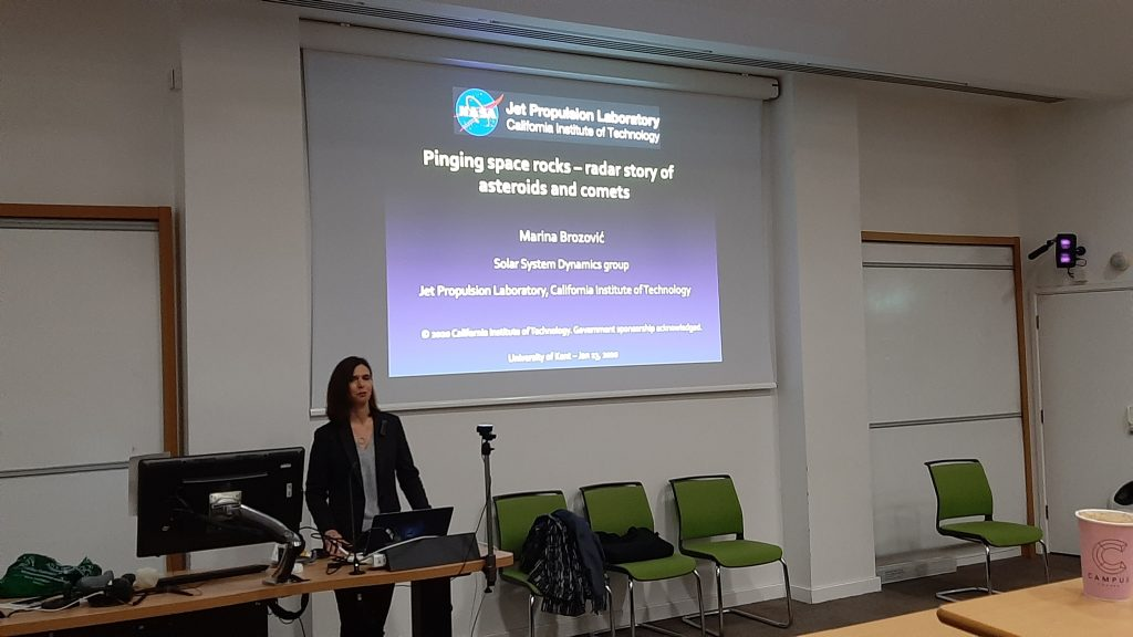 Dr Marina Brozović delivering a talk at the University of Kent