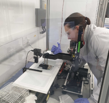Postgraduate Student Charlotte Byford working in the lab at the University of Kent