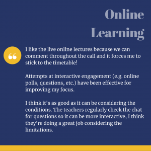 Student Experience Survey Quote about online learning