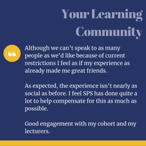 Student Experience Survey quote about the learning community