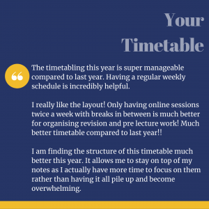 Quote from student feedback about the timetable
